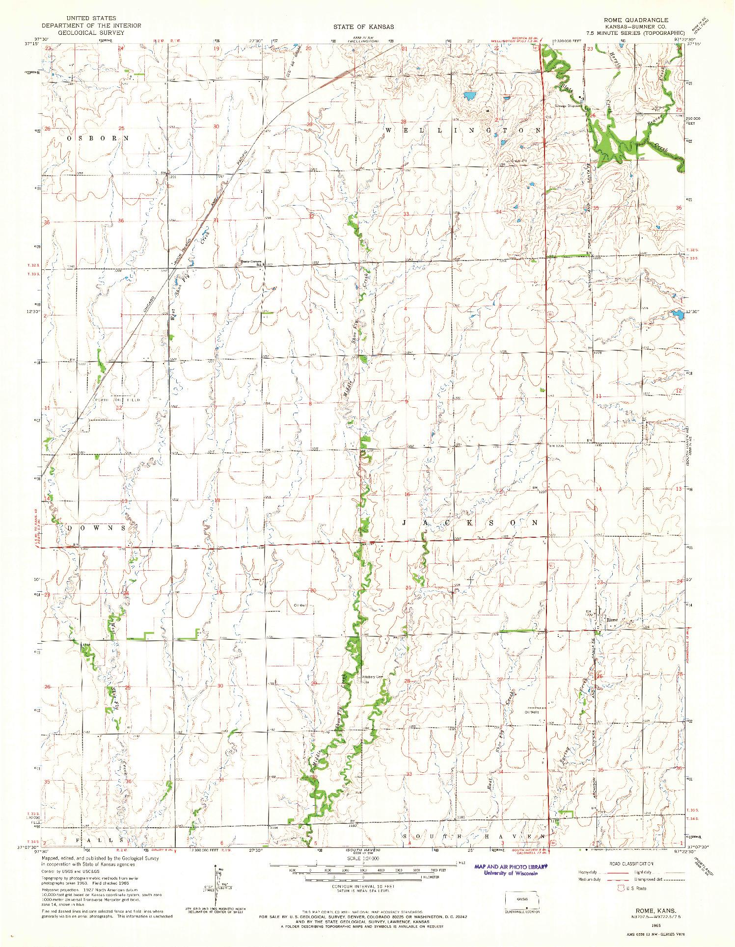 USGS 1:24000-SCALE QUADRANGLE FOR ROME, KS 1965