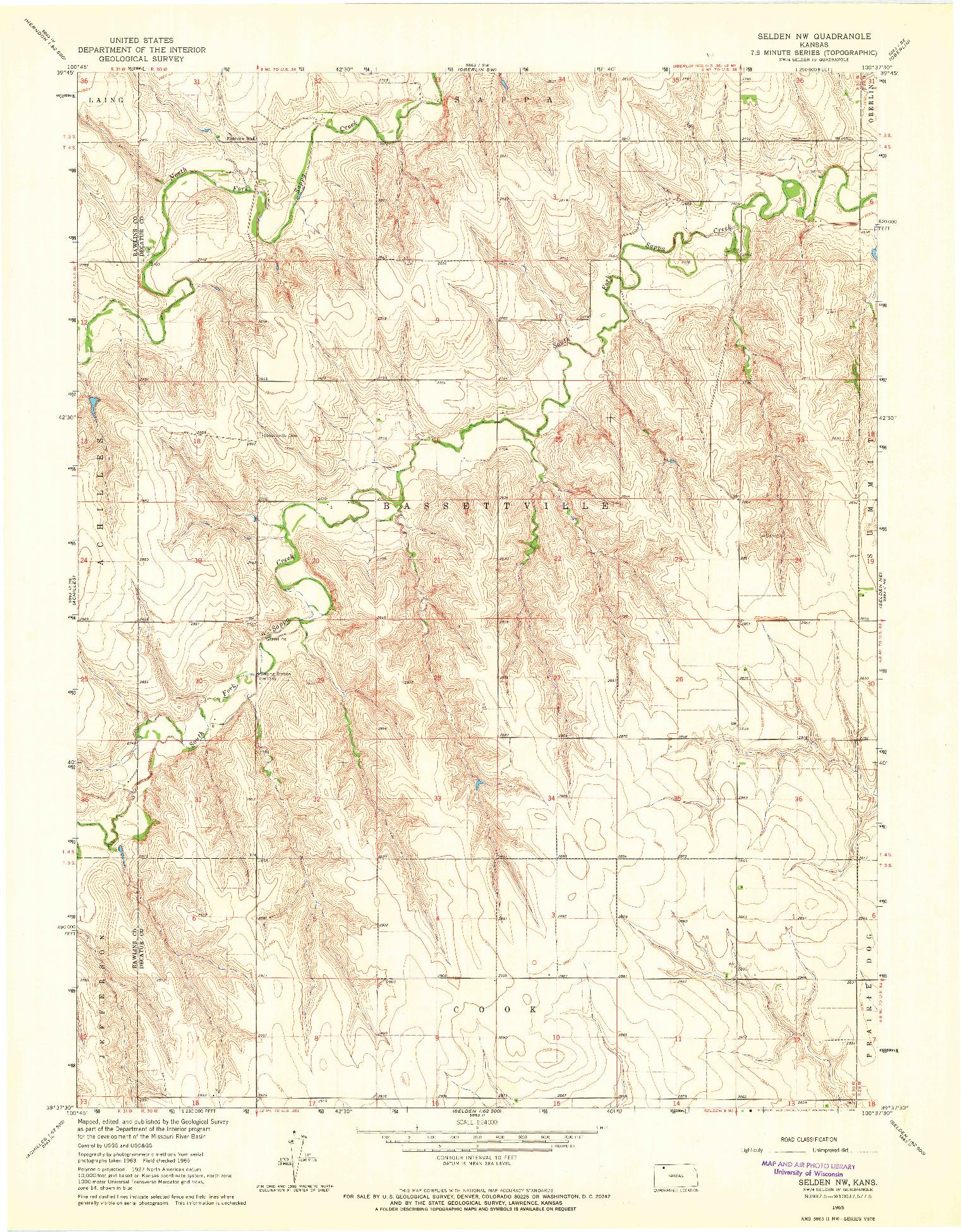 USGS 1:24000-SCALE QUADRANGLE FOR SELDEN NW, KS 1965