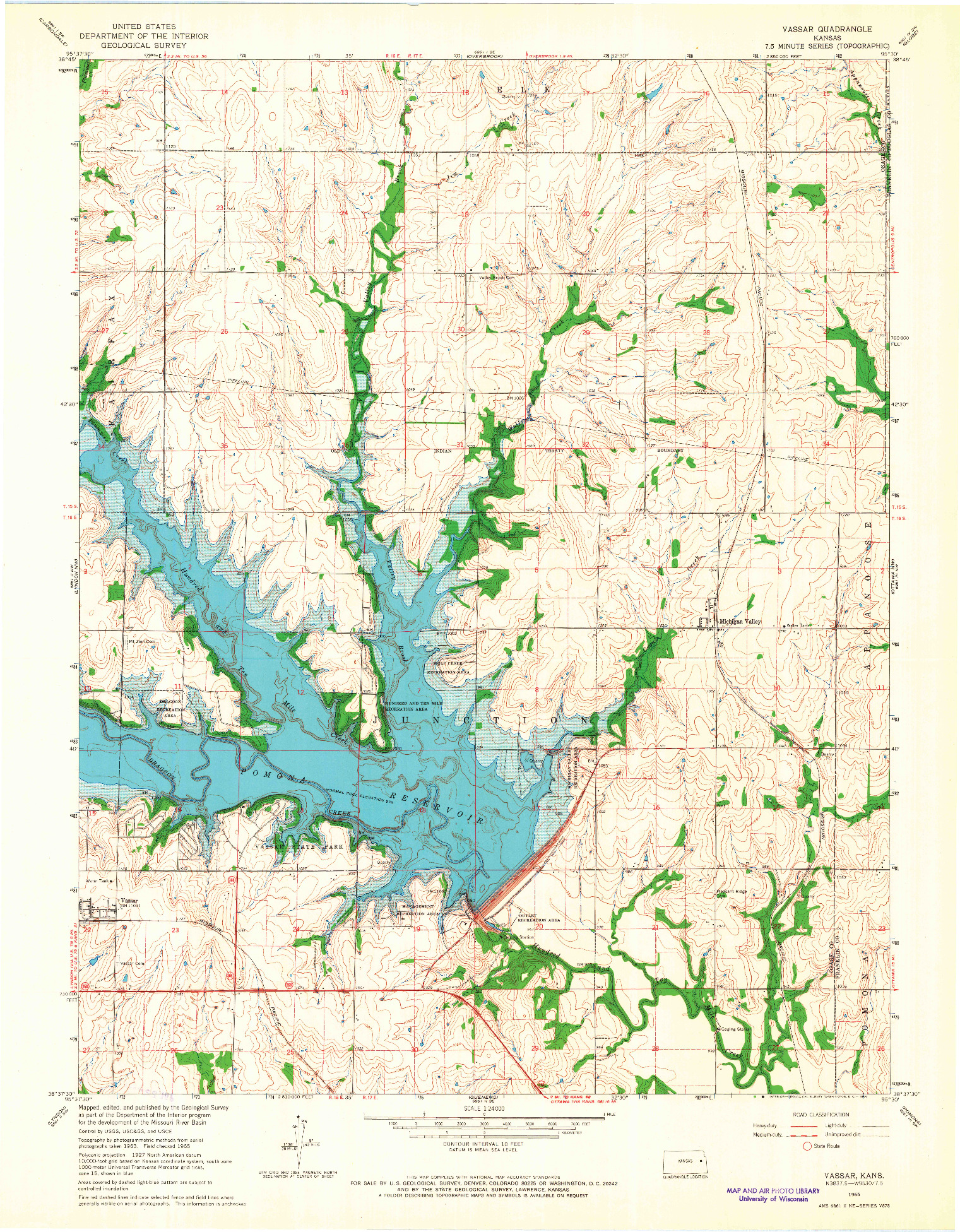 USGS 1:24000-SCALE QUADRANGLE FOR VASSAR, KS 1965