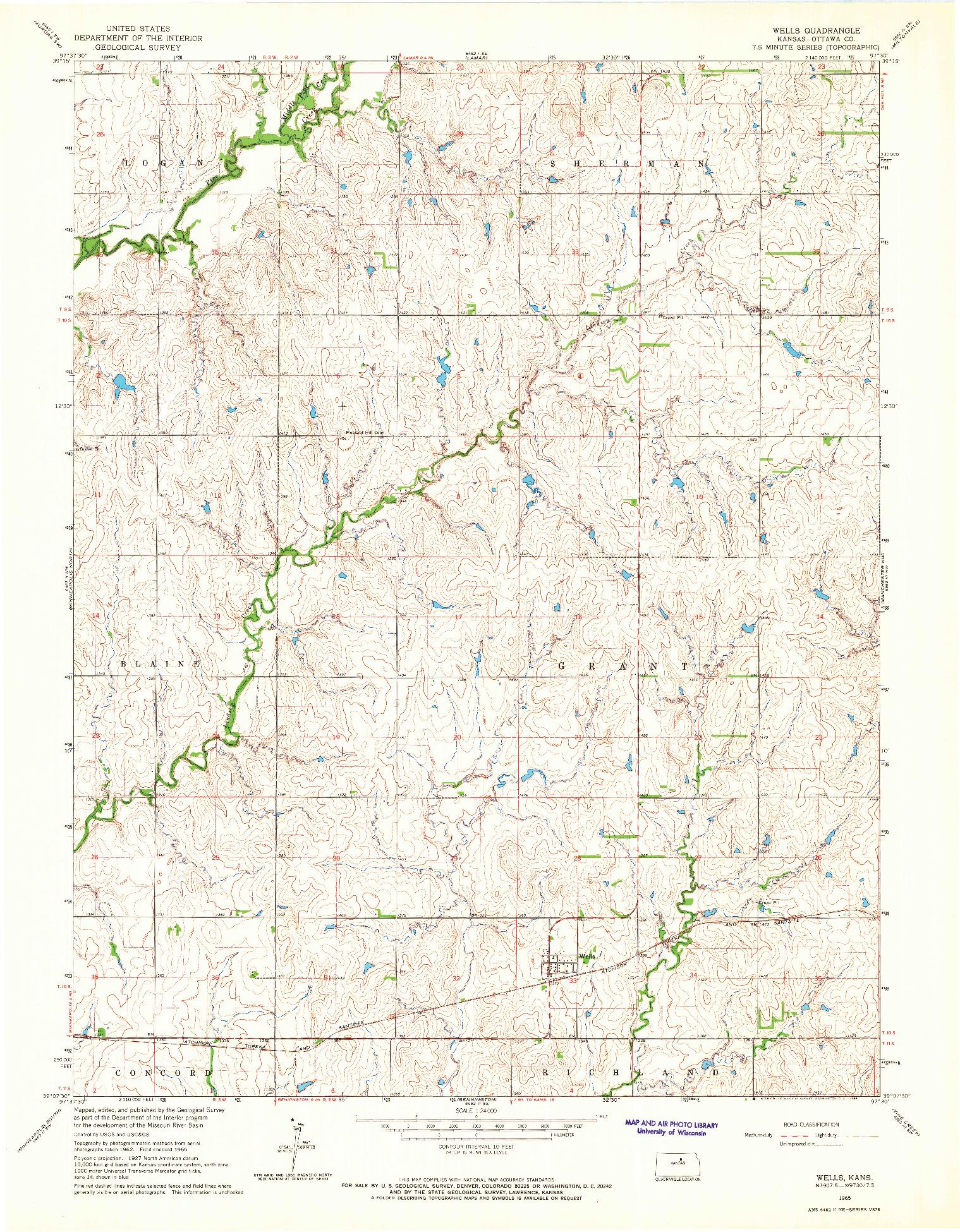 USGS 1:24000-SCALE QUADRANGLE FOR WELLS, KS 1965