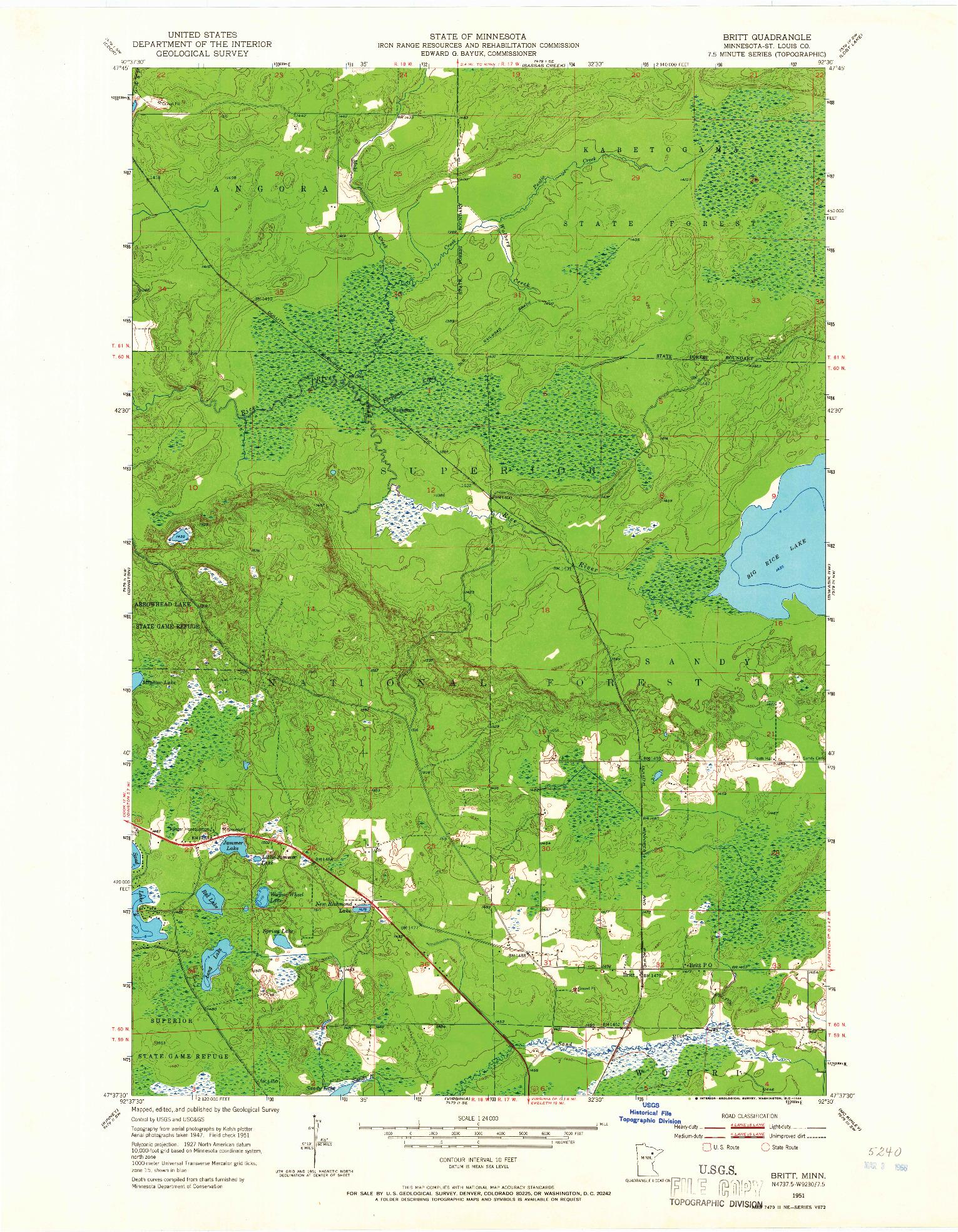 USGS 1:24000-SCALE QUADRANGLE FOR BRITT, MN 1951