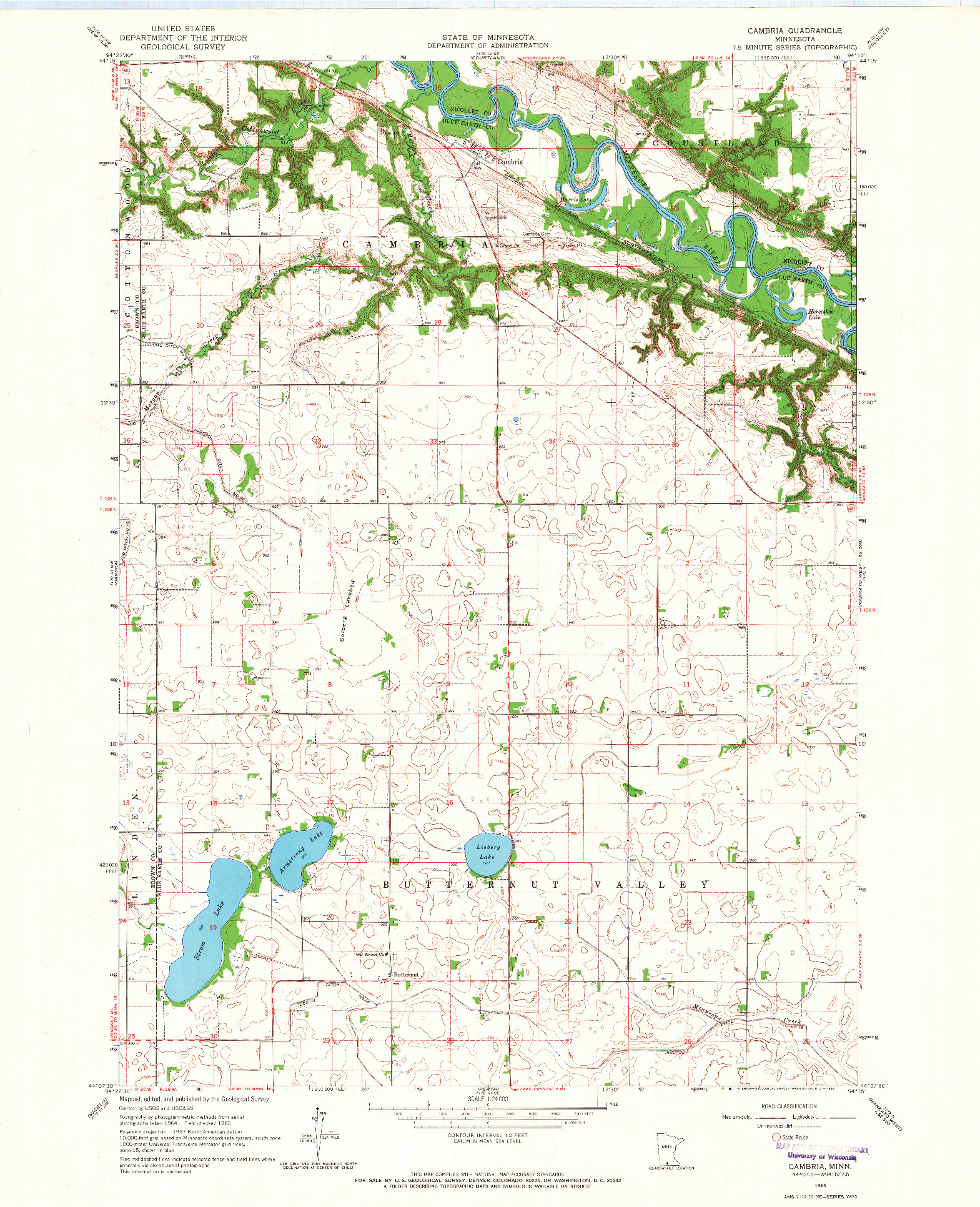 USGS 1:24000-SCALE QUADRANGLE FOR CAMBRIA, MN 1965