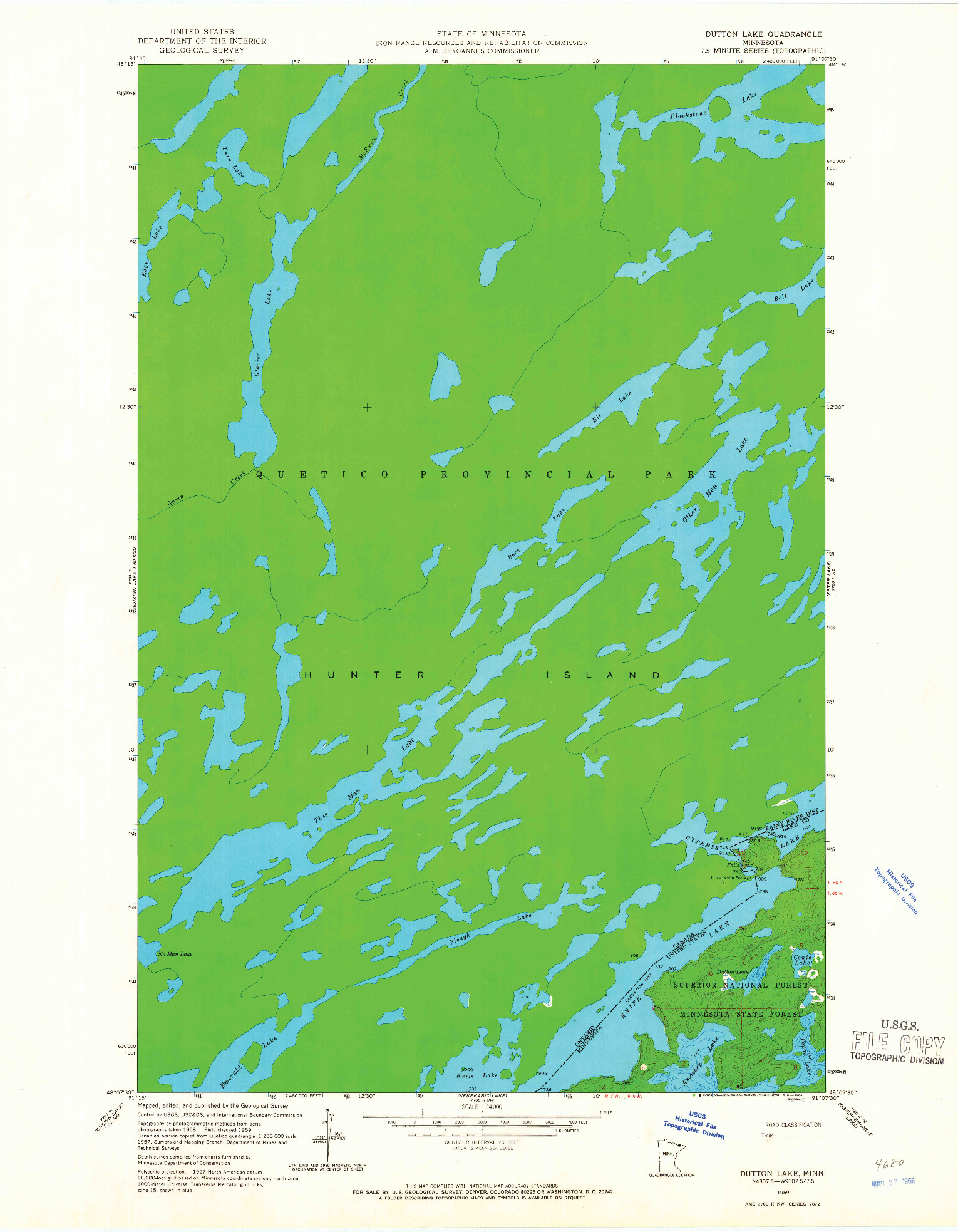 USGS 1:24000-SCALE QUADRANGLE FOR DUTTON LAKE, MN 1959