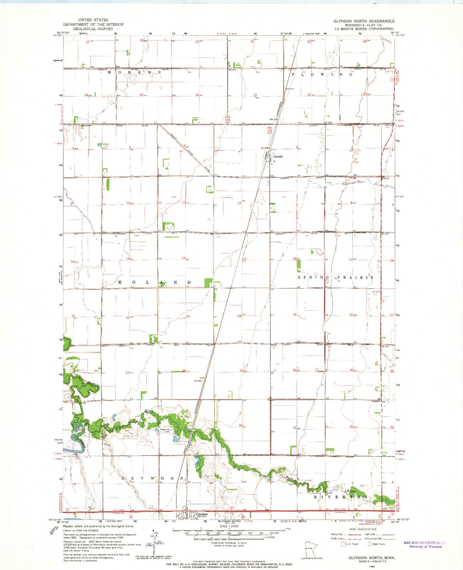 USGS 1:24000-SCALE QUADRANGLE FOR GLYNDON NORTH, MN 1964