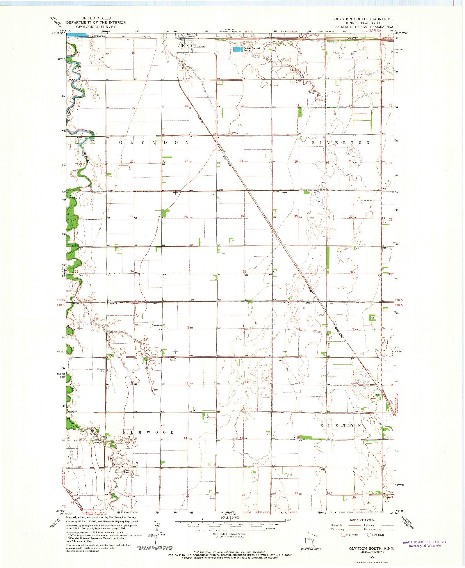 USGS 1:24000-SCALE QUADRANGLE FOR GLYNDON SOUTH, MN 1964