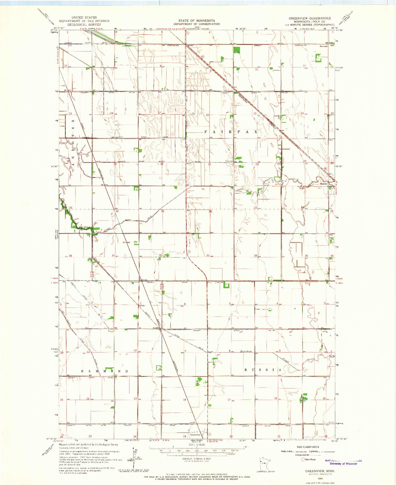 USGS 1:24000-SCALE QUADRANGLE FOR GREENVIEW, MN 1964