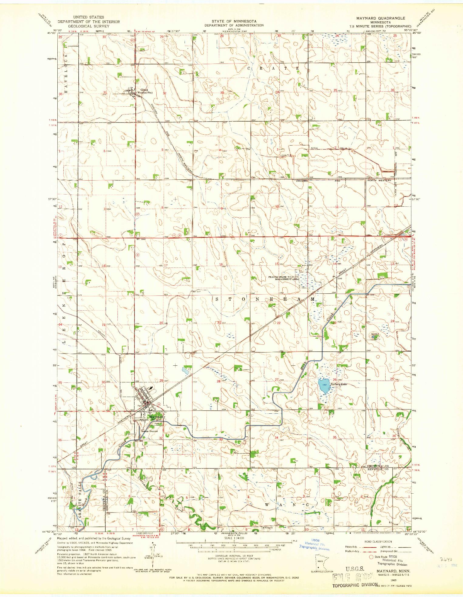 USGS 1:24000-SCALE QUADRANGLE FOR MAYNARD, MN 1965