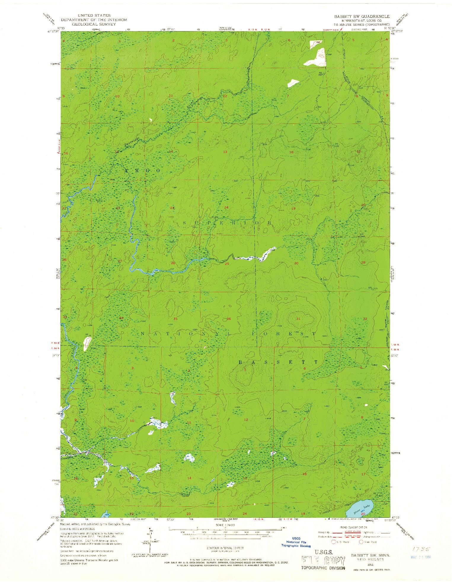 USGS 1:24000-SCALE QUADRANGLE FOR BABBITT SW, MN 1951
