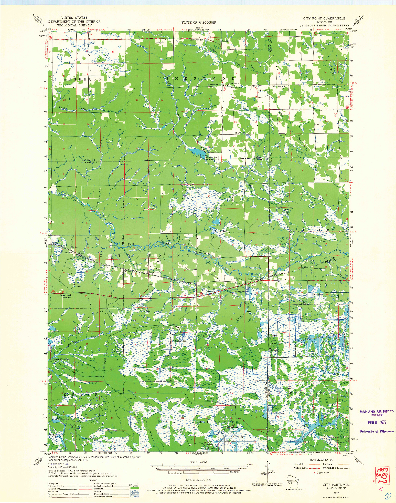 USGS 1:48000-SCALE QUADRANGLE FOR CITY POINT, WI 1957