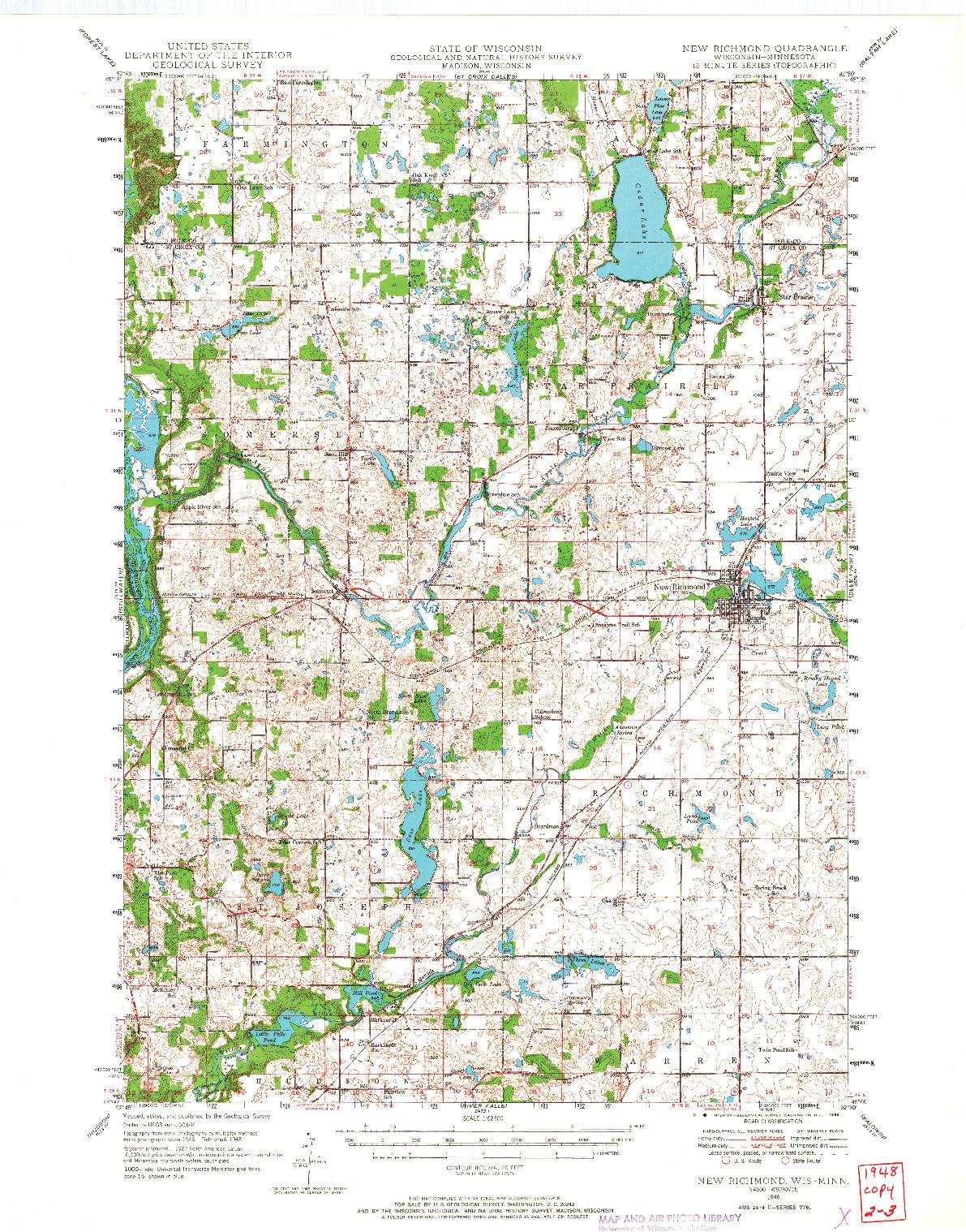 USGS 1:62500-SCALE QUADRANGLE FOR NEW RICHMOND, WI 1948