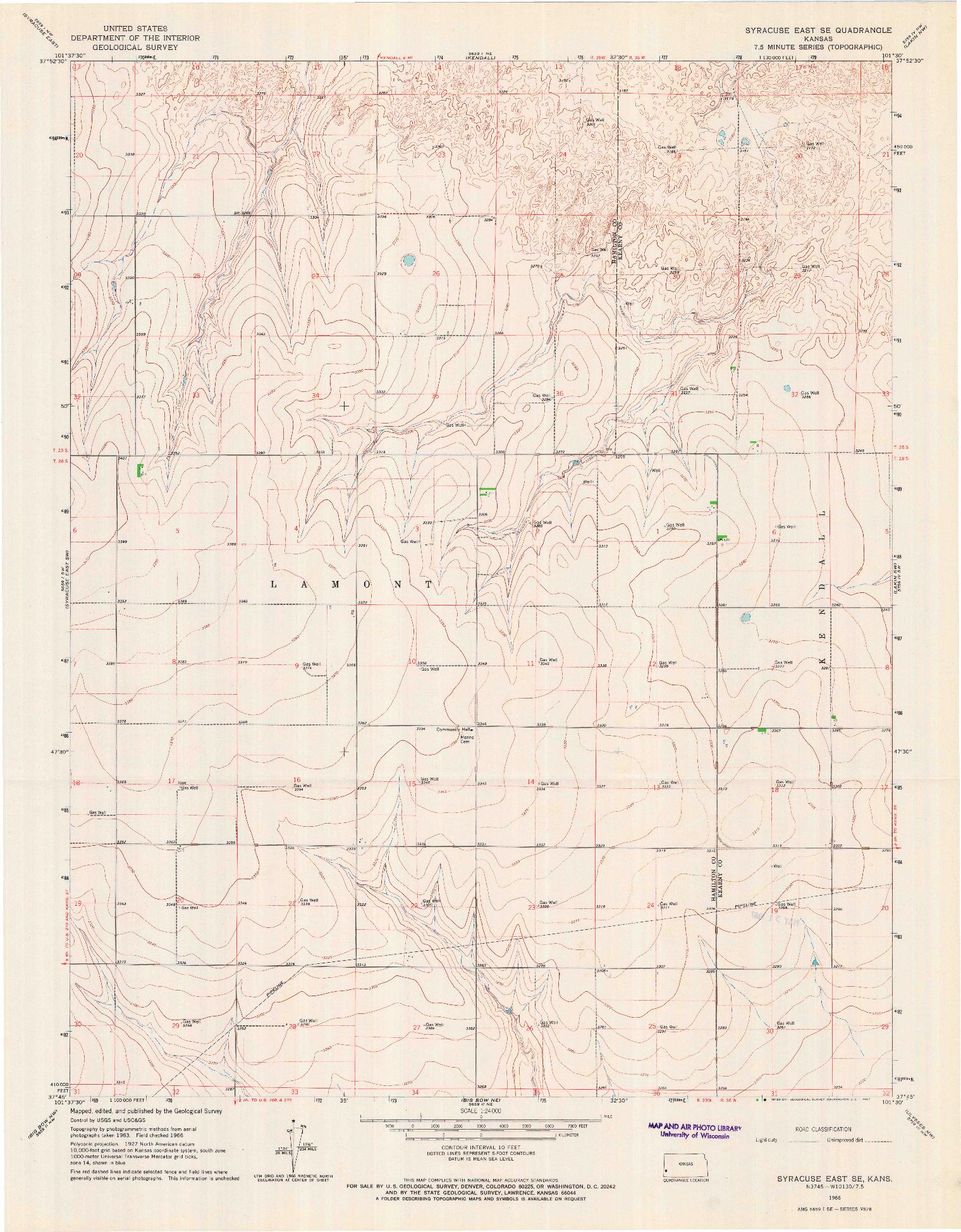 USGS 1:24000-SCALE QUADRANGLE FOR SYRACUSE EAST SE, KS 1966