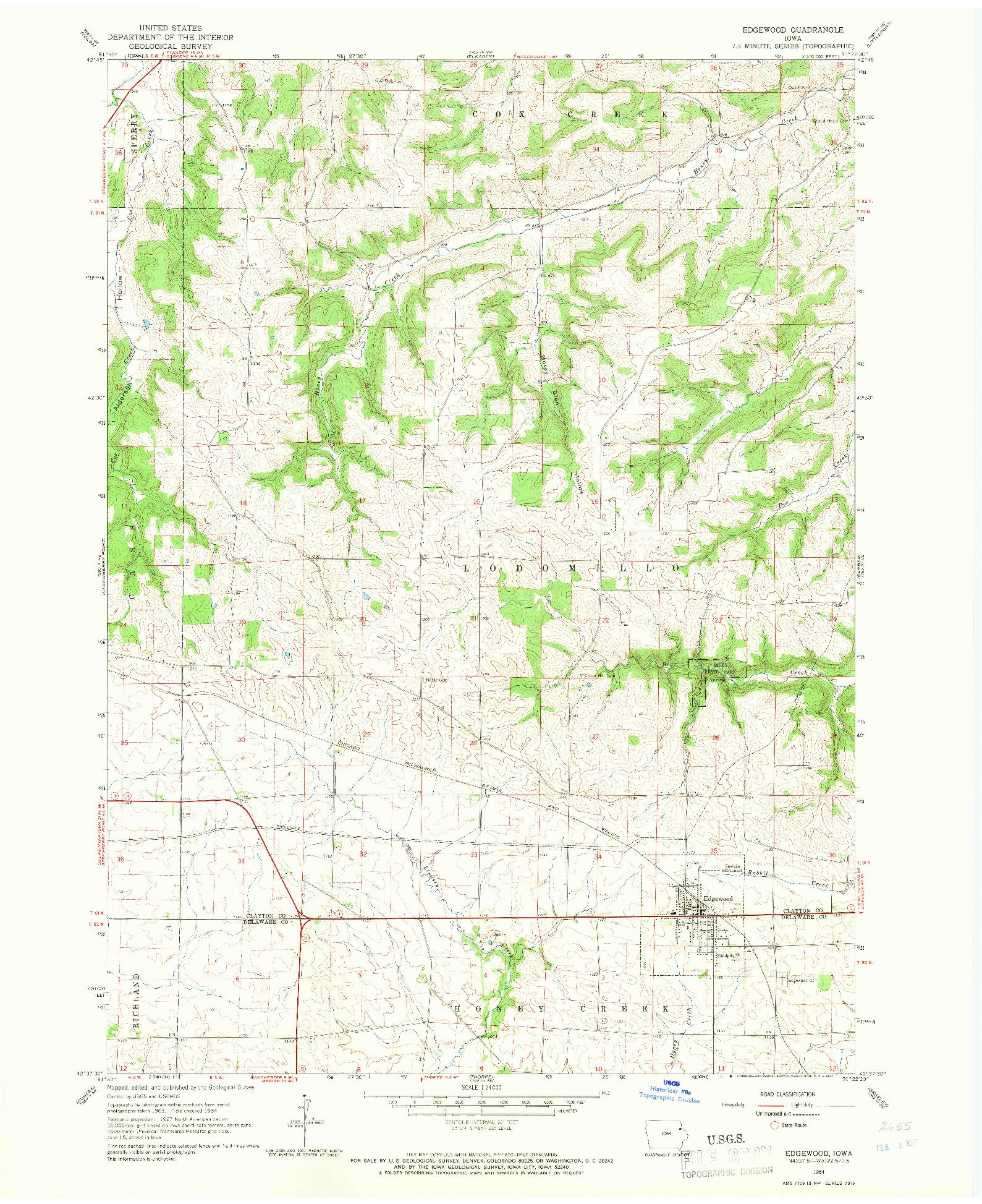USGS 1:24000-SCALE QUADRANGLE FOR EDGEWOOD, IA 1964