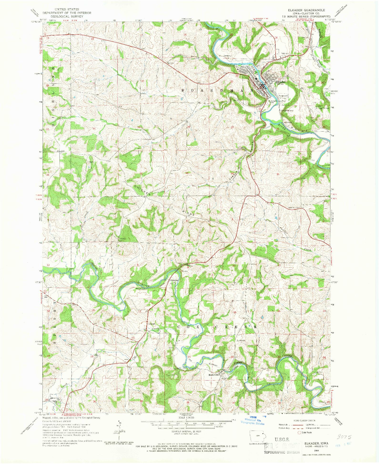 USGS 1:24000-SCALE QUADRANGLE FOR ELKADER, IA 1964