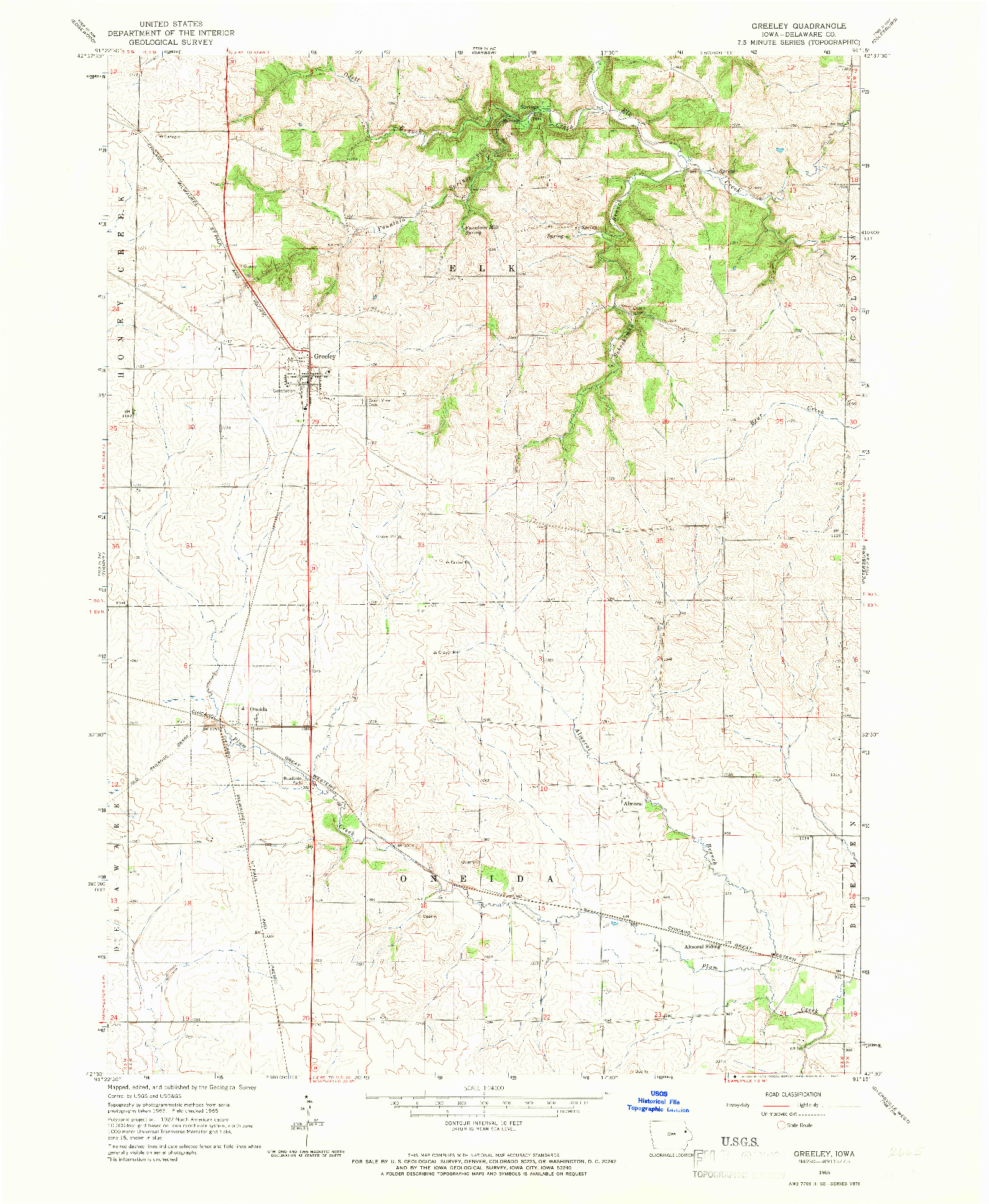 USGS 1:24000-SCALE QUADRANGLE FOR GREELEY, IA 1965