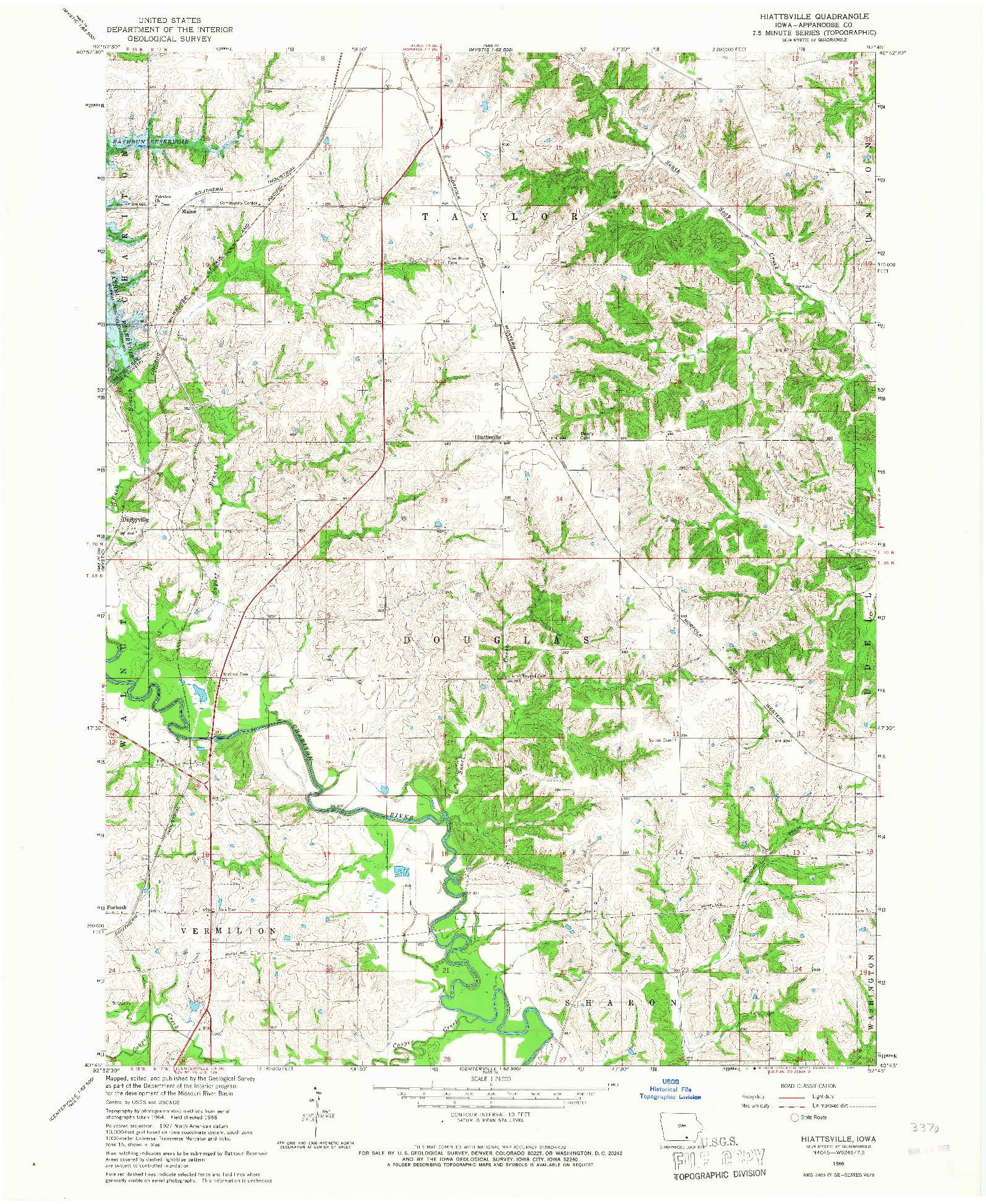USGS 1:24000-SCALE QUADRANGLE FOR HIATTSVILLE, IA 1966