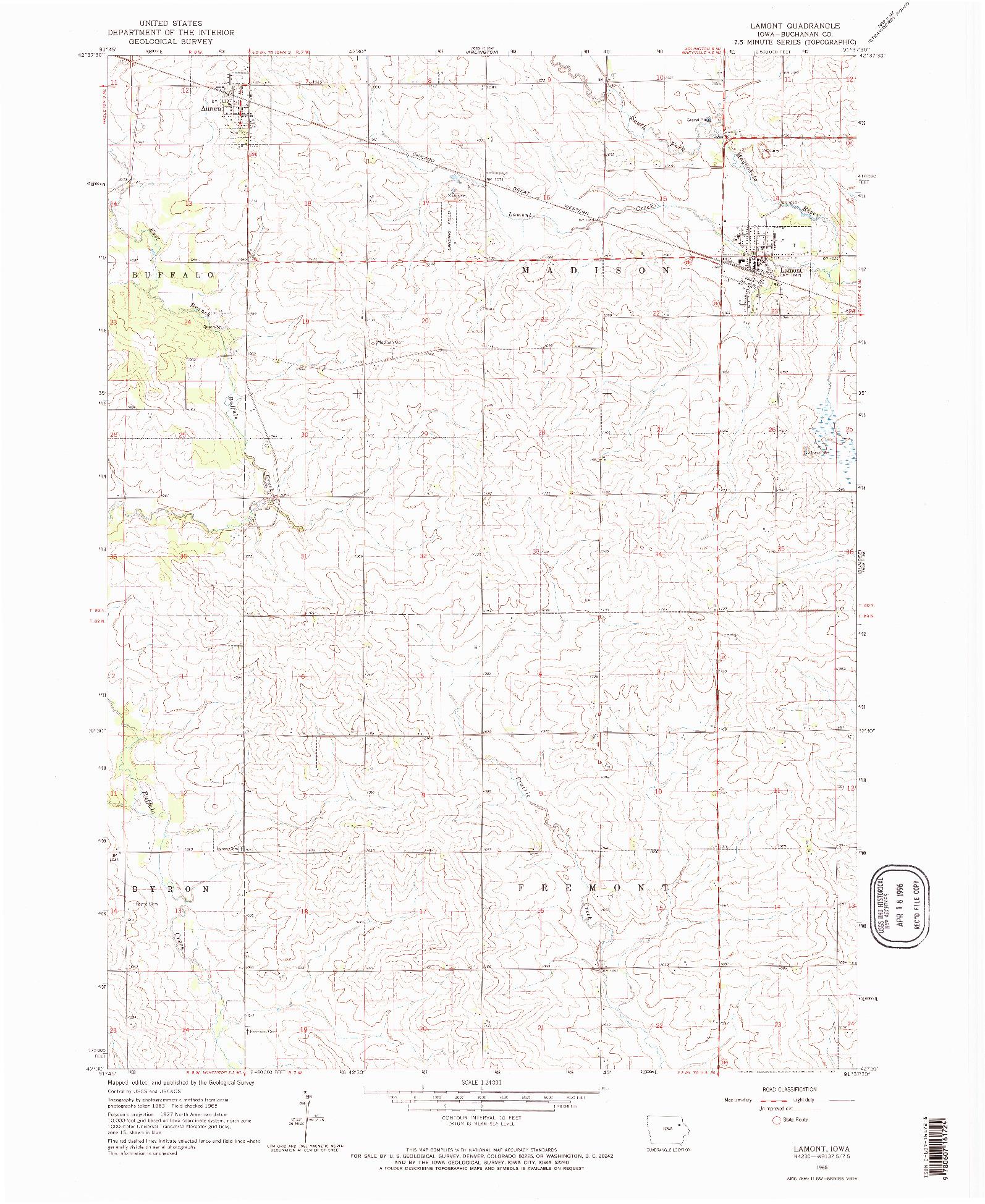 USGS 1:24000-SCALE QUADRANGLE FOR LAMONT, IA 1965