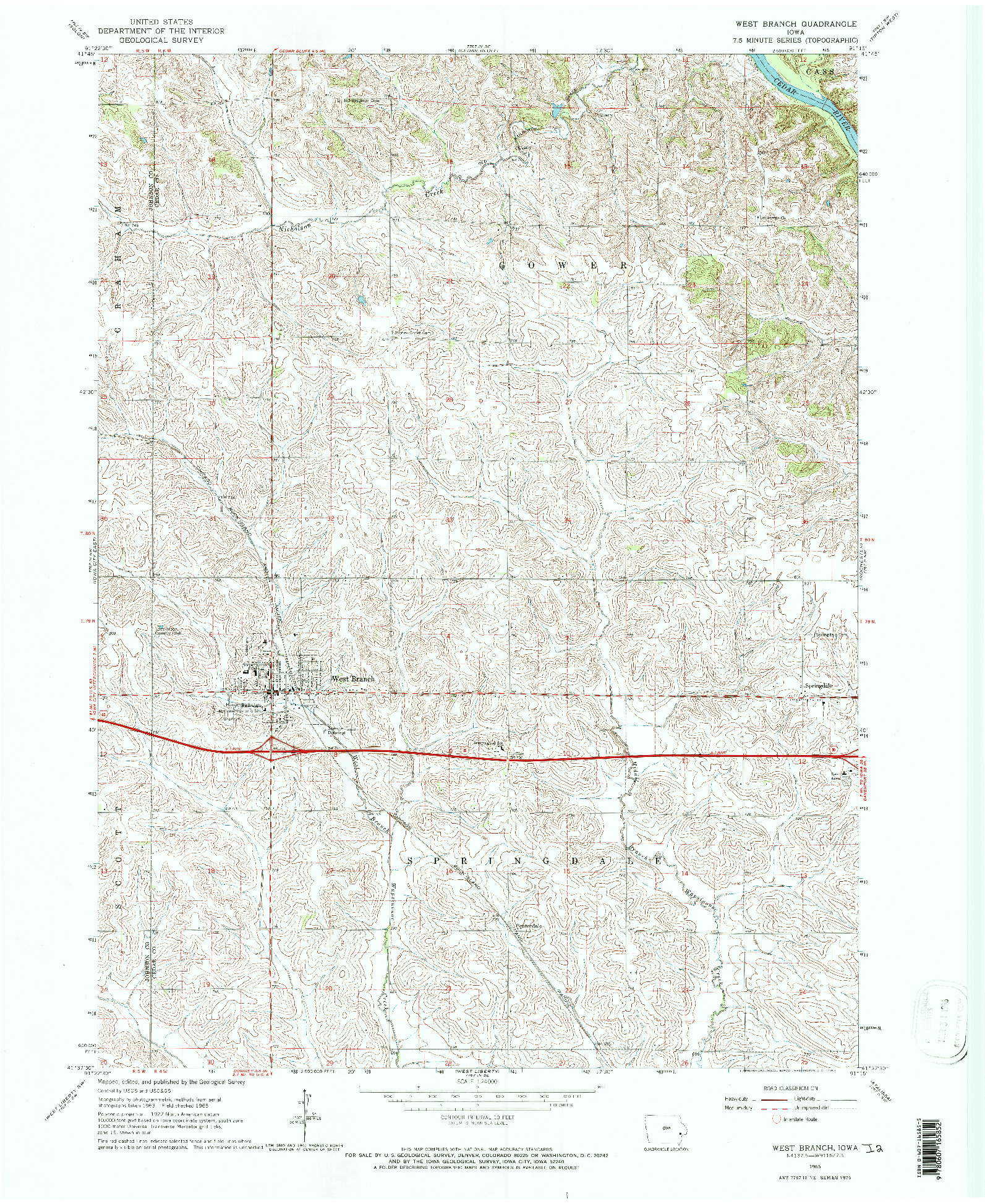 USGS 1:24000-SCALE QUADRANGLE FOR WEST BRANCH, IA 1965
