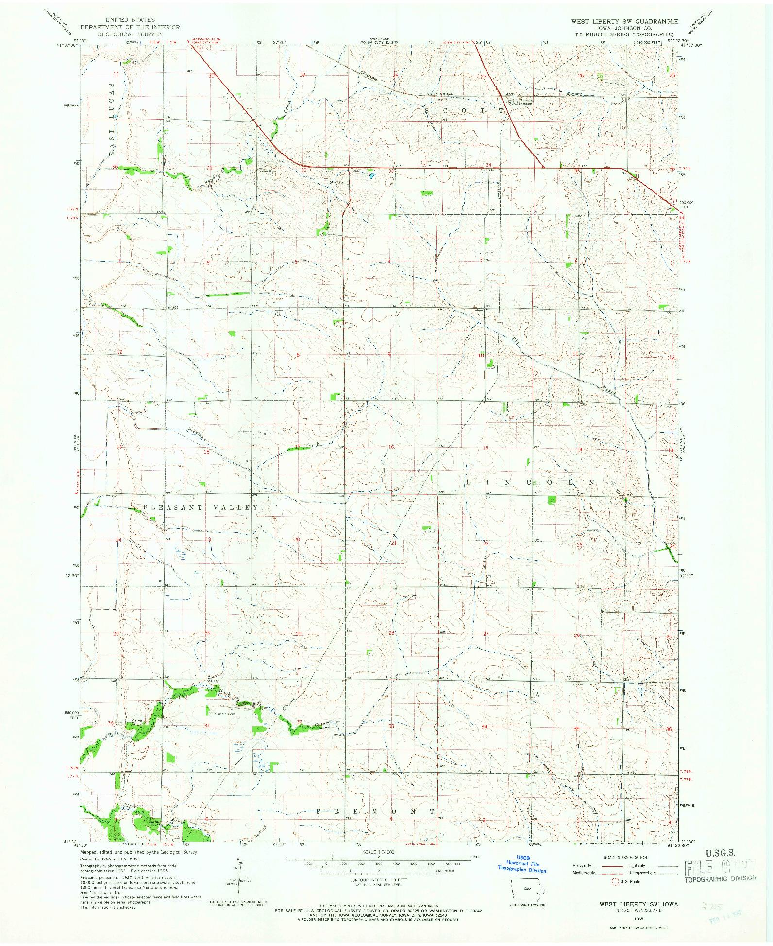 USGS 1:24000-SCALE QUADRANGLE FOR WEST LIBERTY SW, IA 1965