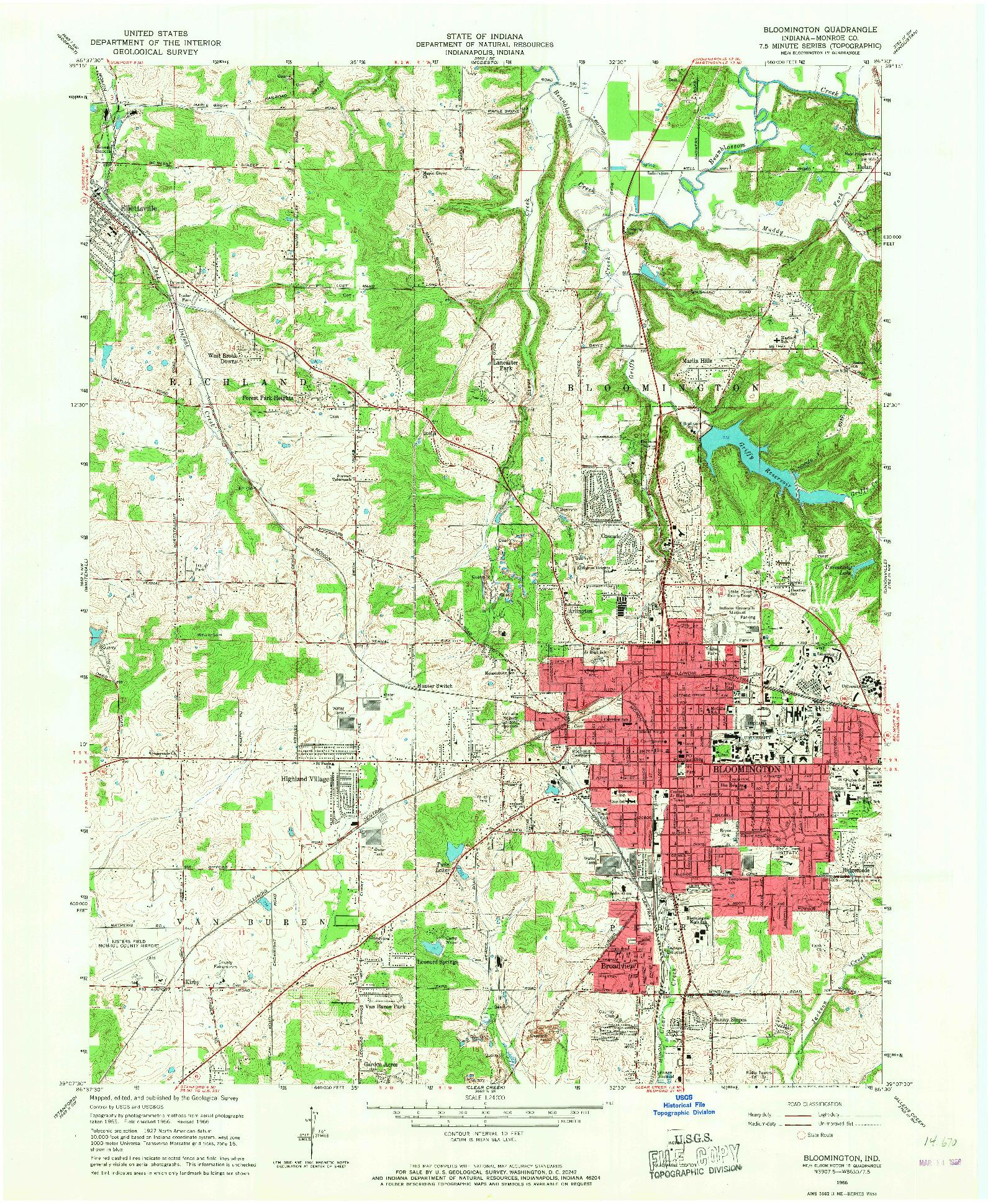 USGS 1:24000-SCALE QUADRANGLE FOR BLOOMINGTON, IN 1966