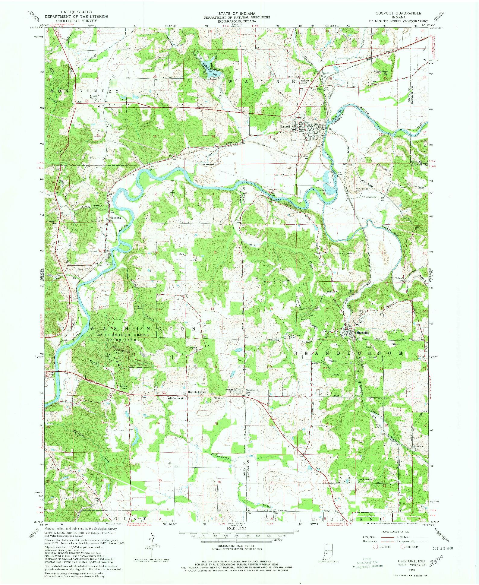 USGS 1:24000-SCALE QUADRANGLE FOR GOSPORT, IN 1965