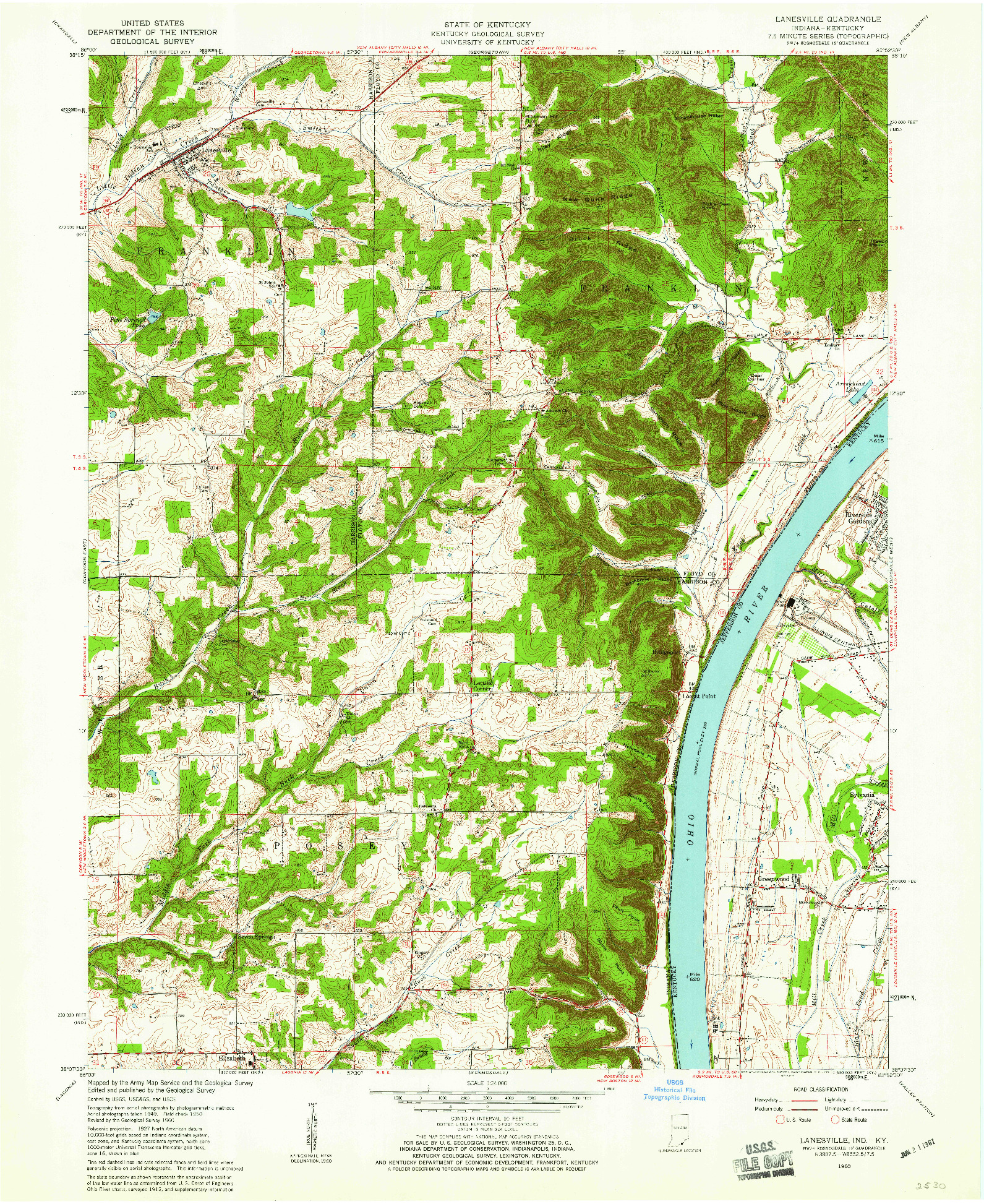 USGS 1:24000-SCALE QUADRANGLE FOR LANESVILLE, IN 1960