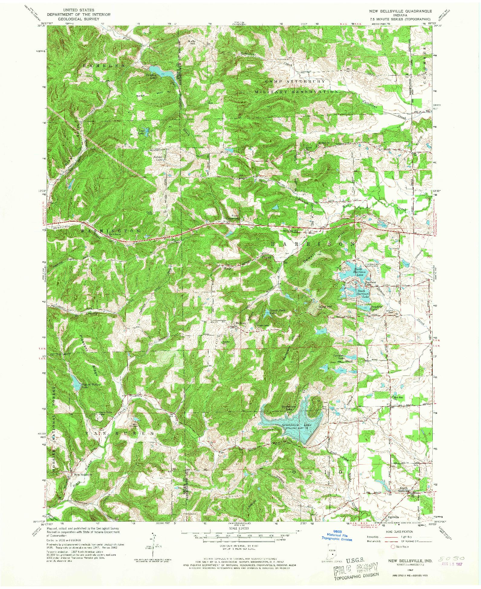 USGS 1:24000-SCALE QUADRANGLE FOR NEW BELLSVILLE, IN 1962