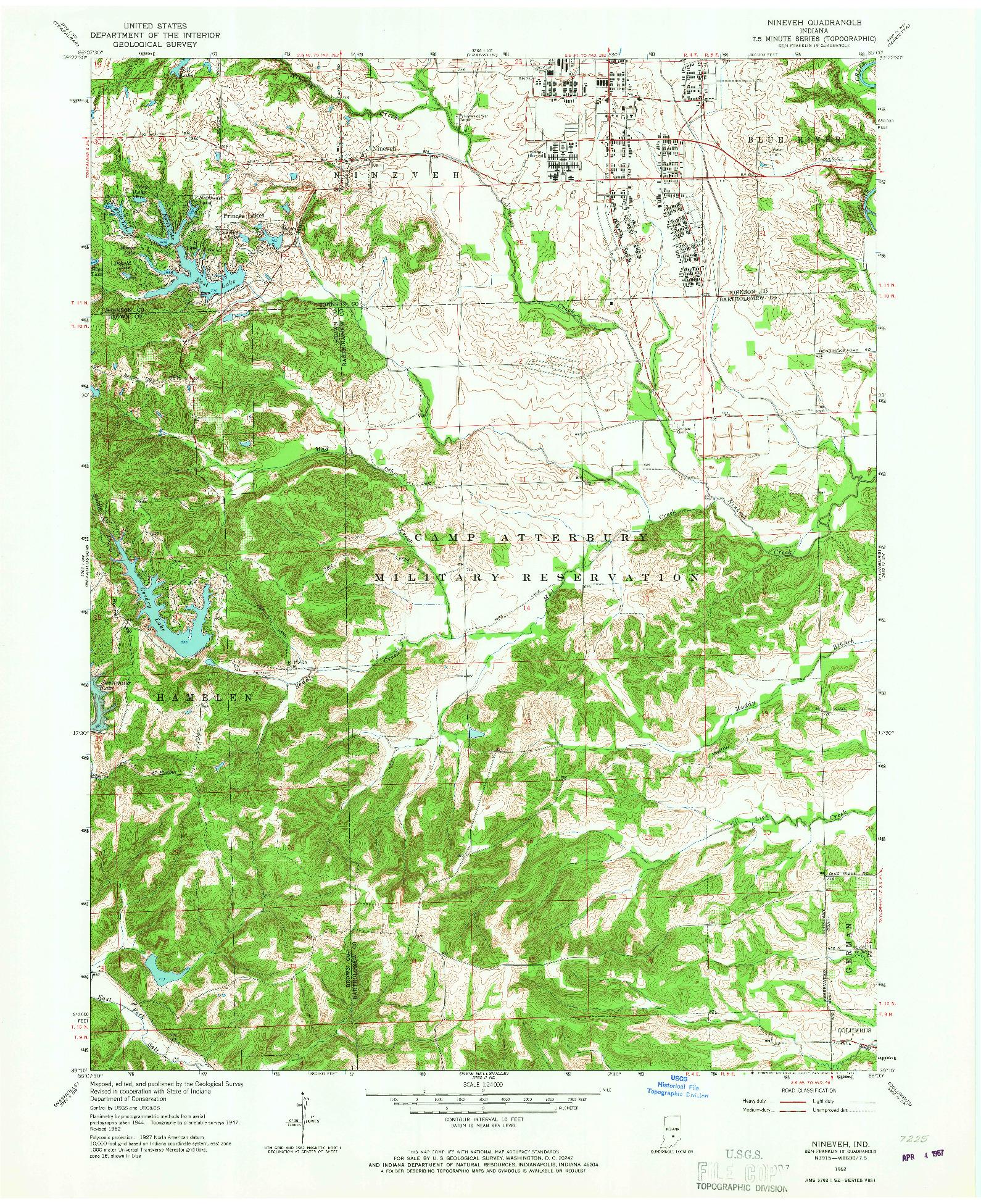 USGS 1:24000-SCALE QUADRANGLE FOR NINEVEH, IN 1962