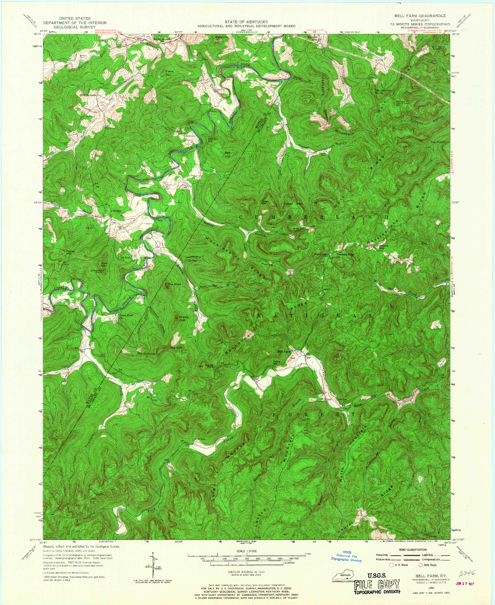 USGS 1:24000-SCALE QUADRANGLE FOR BELL FARM, KY 1954