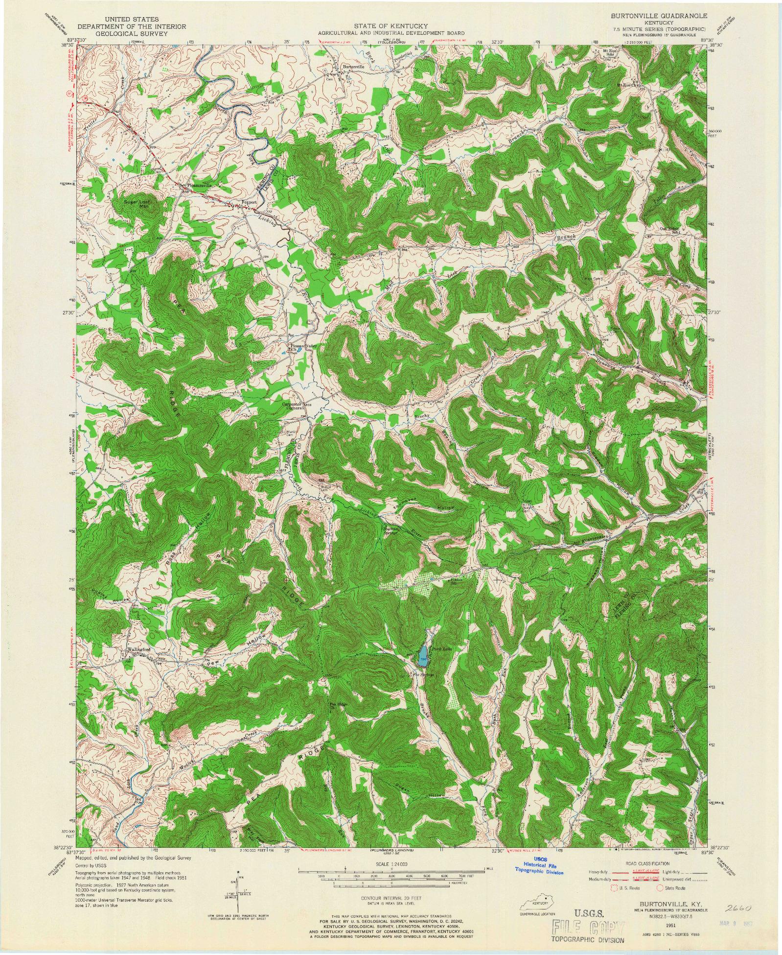 USGS 1:24000-SCALE QUADRANGLE FOR BURTONVILLE, KY 1951