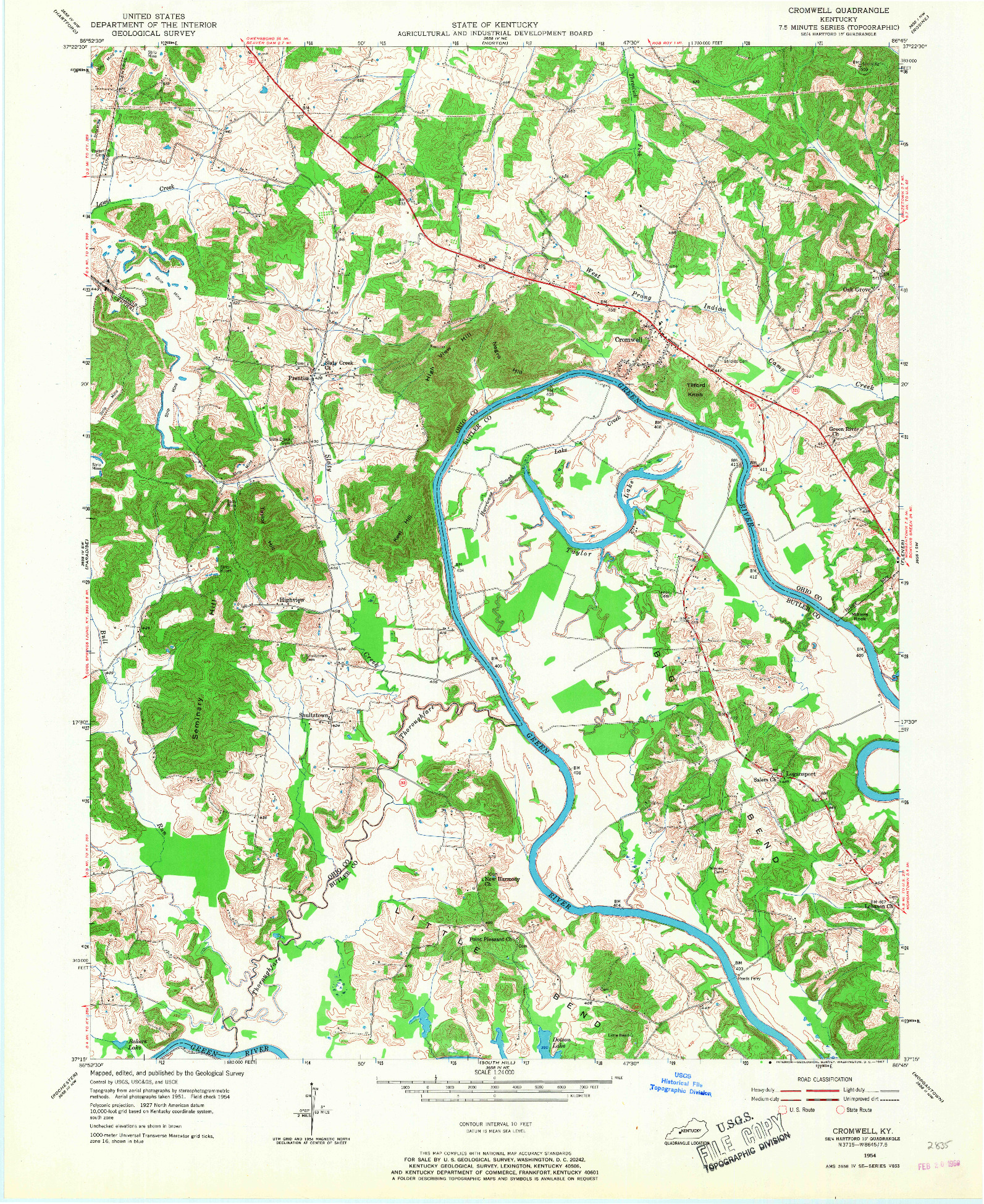 USGS 1:24000-SCALE QUADRANGLE FOR CROMWELL, KY 1954