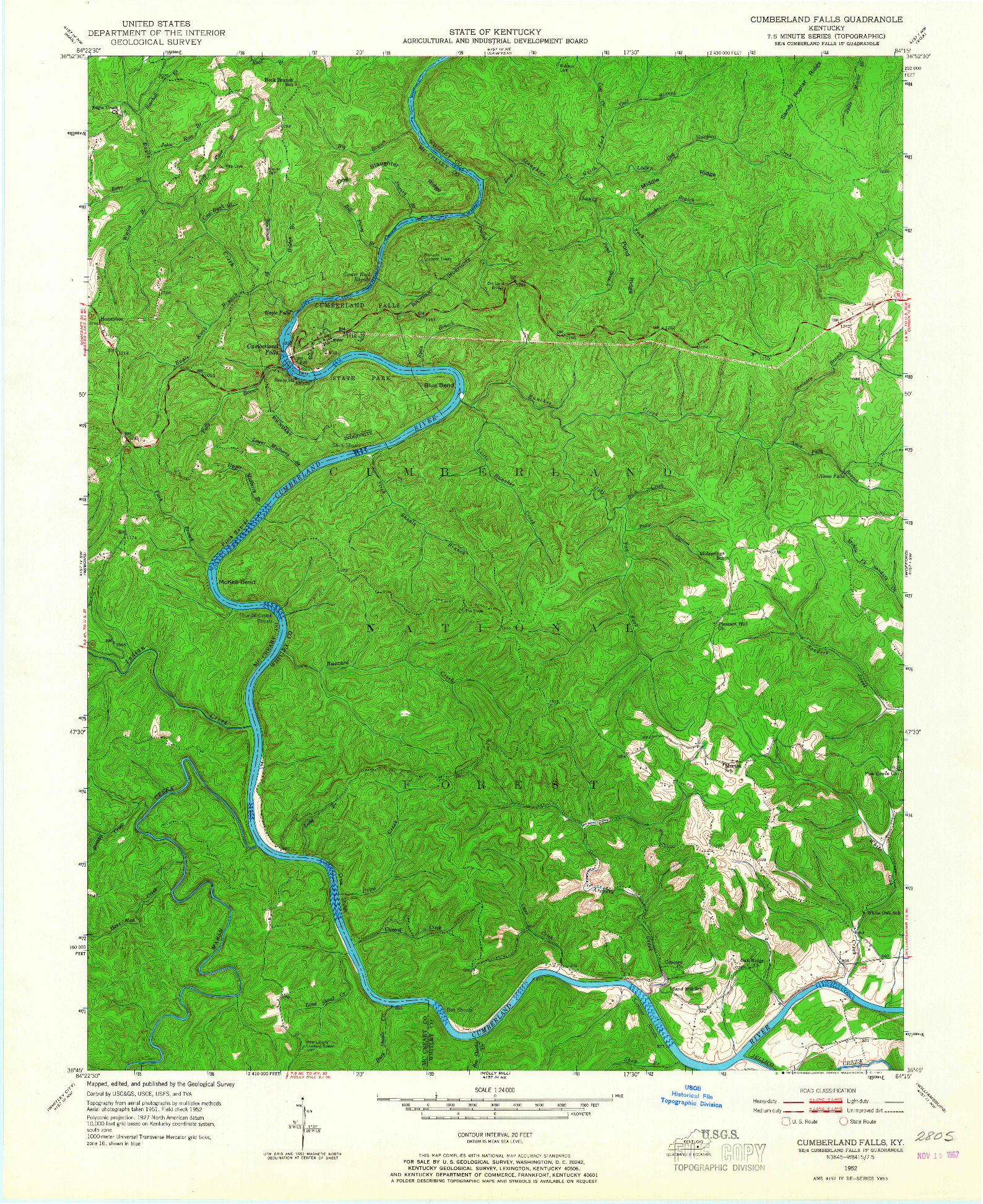 USGS 1:24000-SCALE QUADRANGLE FOR CUMBERLAND FALLS, KY 1952