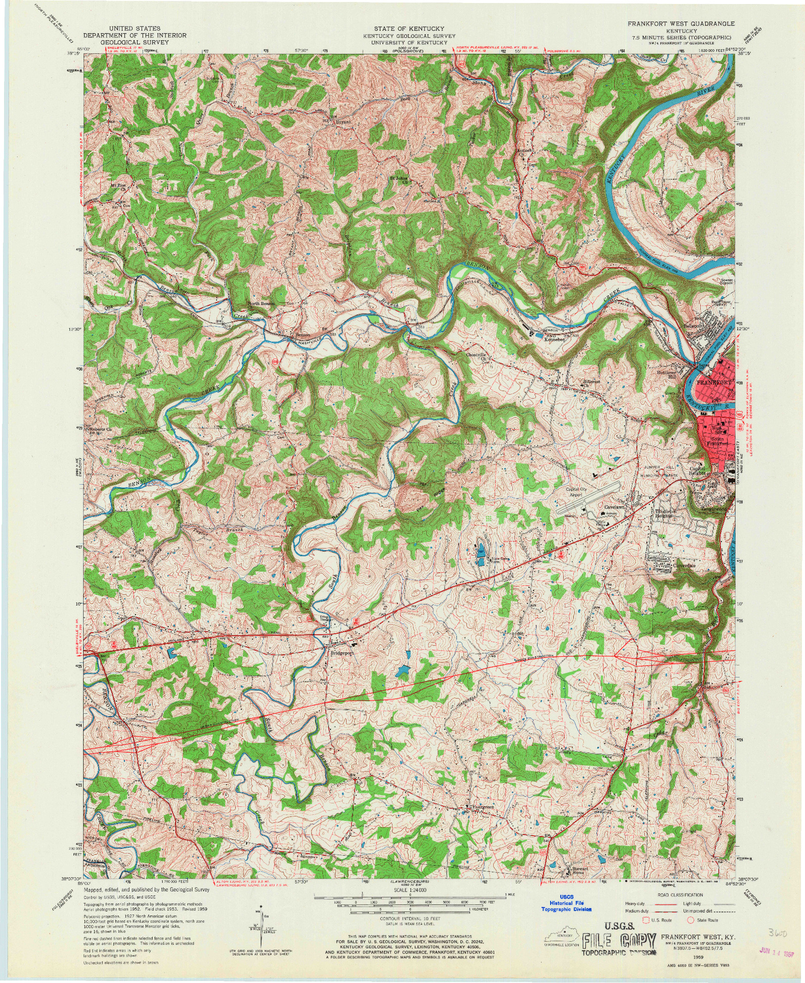 USGS 1:24000-SCALE QUADRANGLE FOR FRANKFORT WEST, KY 1959