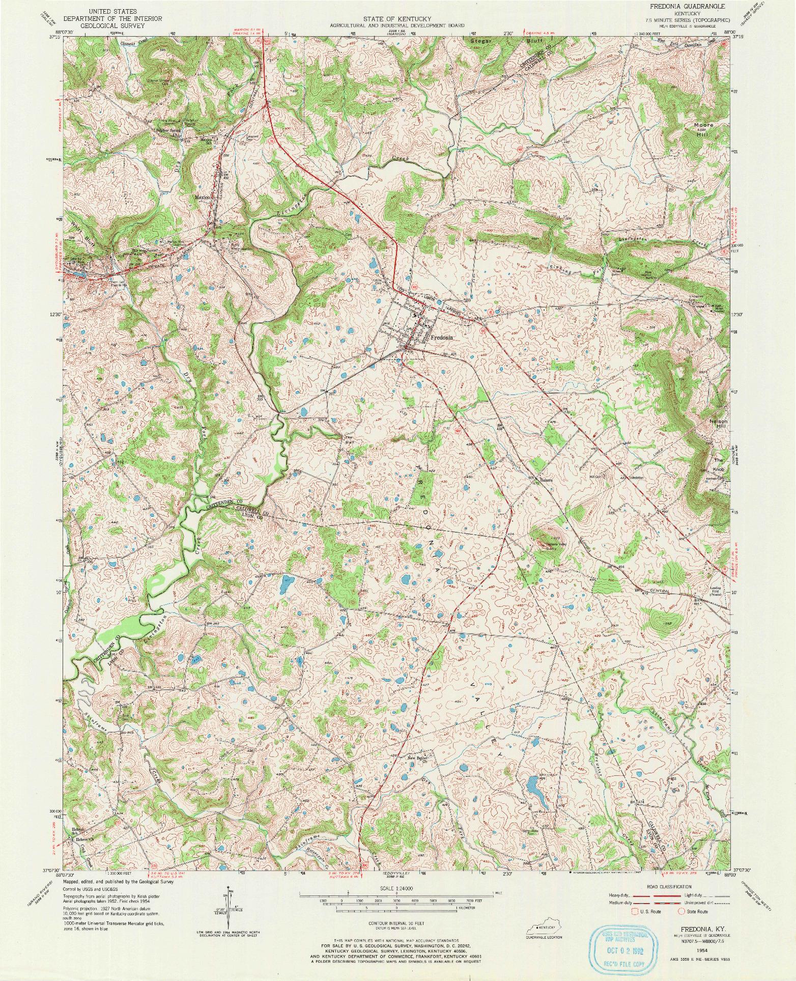 USGS 1:24000-SCALE QUADRANGLE FOR FREDONIA, KY 1954