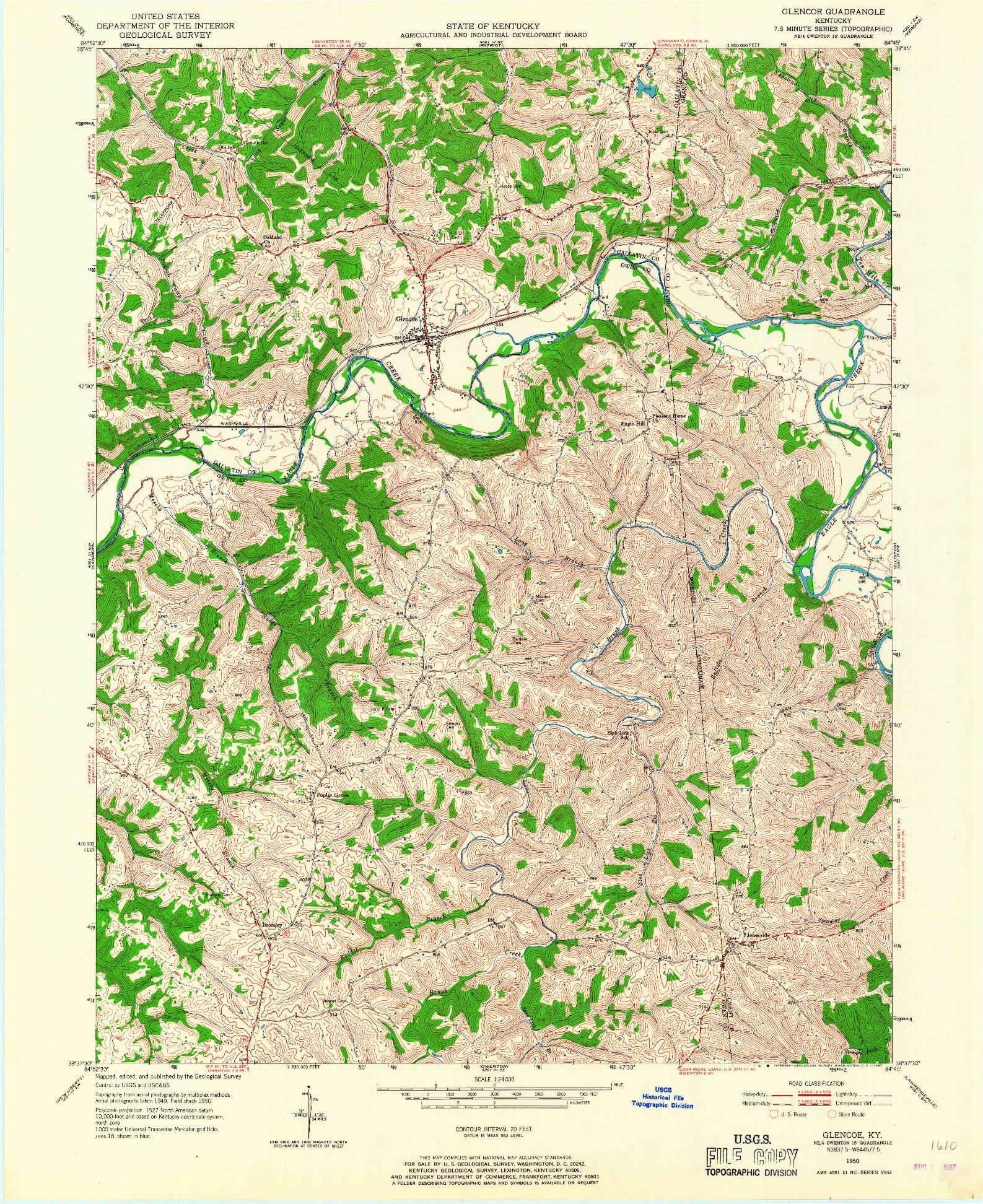 USGS 1:24000-SCALE QUADRANGLE FOR GLENCOE, KY 1950