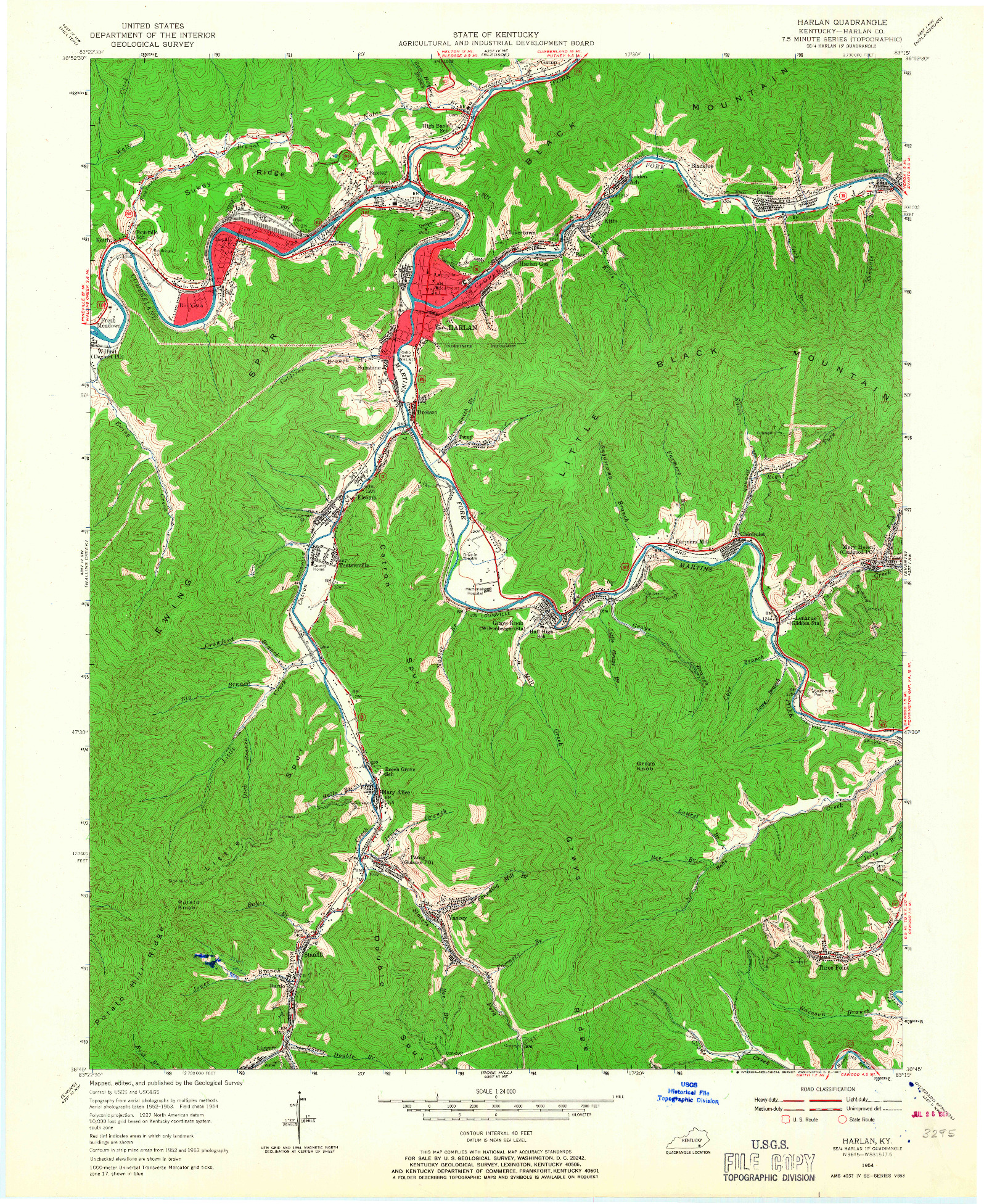 USGS 1:24000-SCALE QUADRANGLE FOR HARLAN, KY 1954