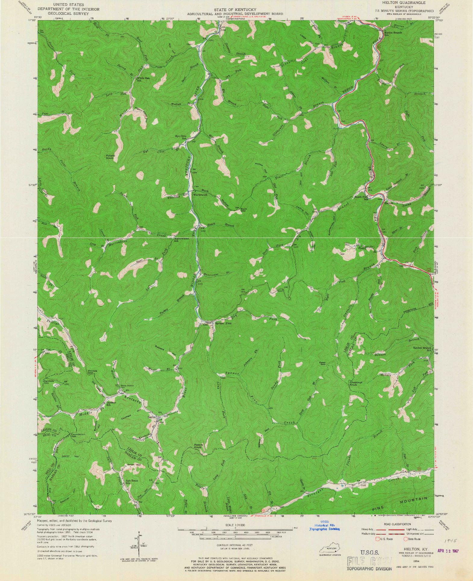 USGS 1:24000-SCALE QUADRANGLE FOR HELTON, KY 1954