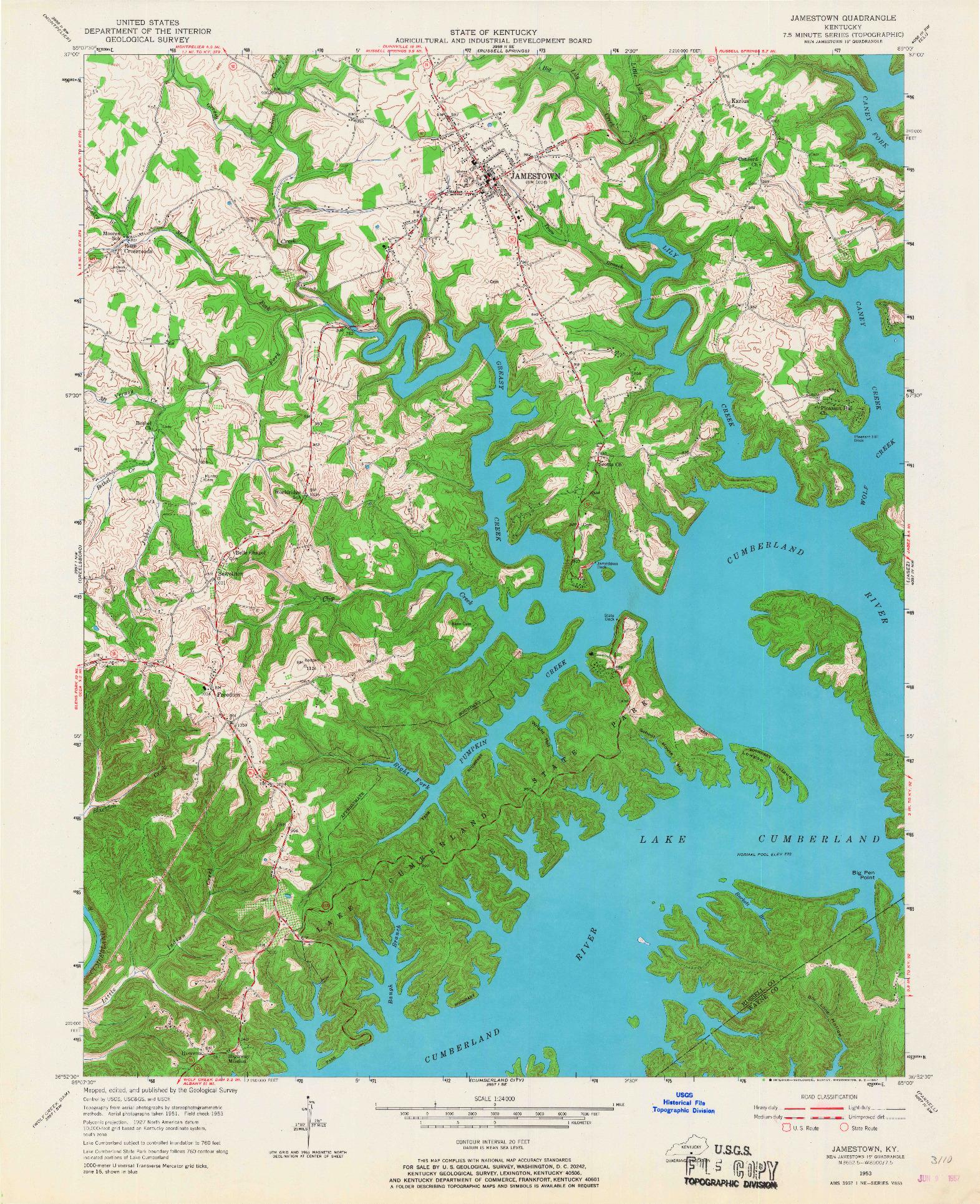 USGS 1:24000-SCALE QUADRANGLE FOR JAMESTOWN, KY 1953