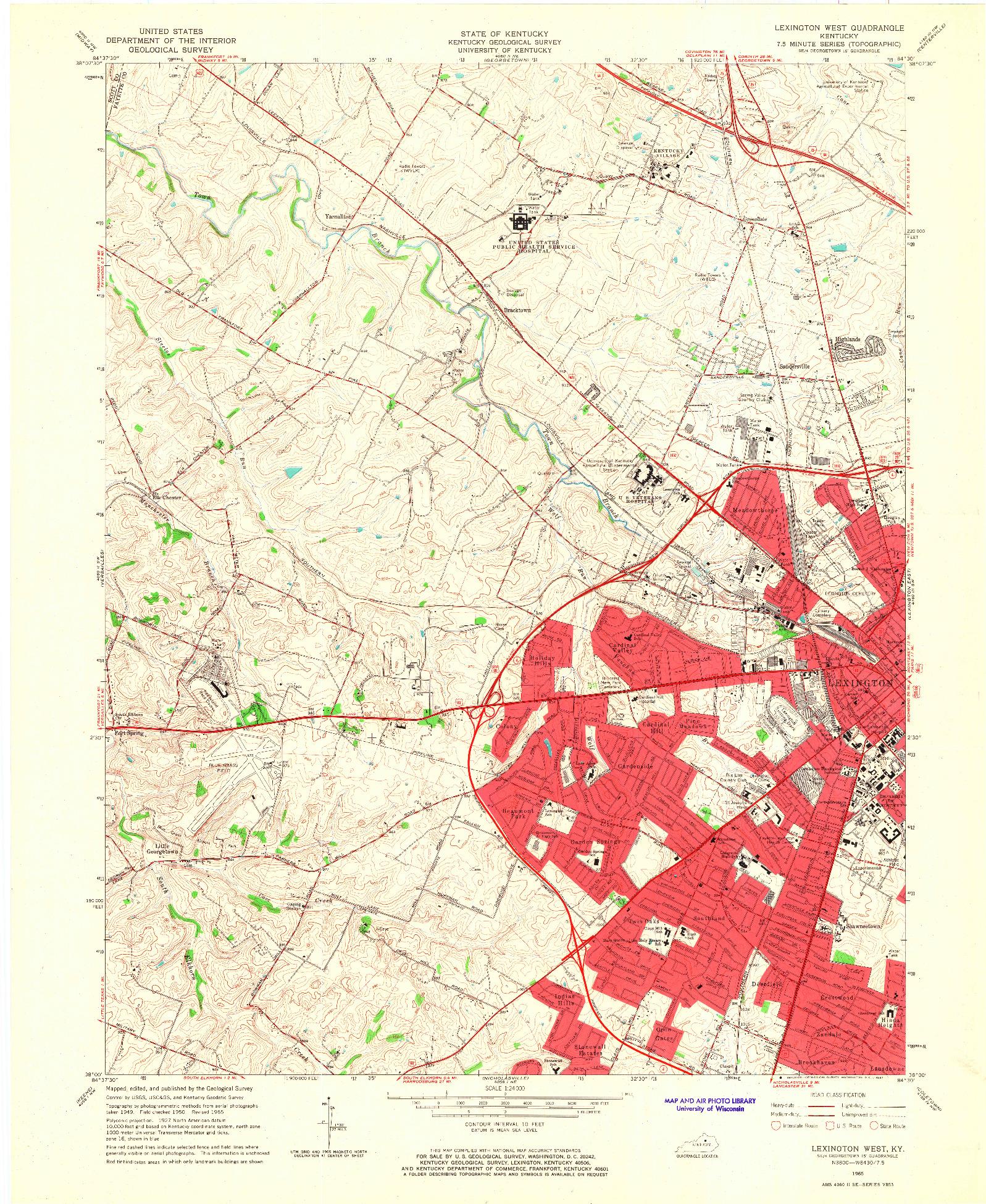 USGS 1:24000-SCALE QUADRANGLE FOR LEXINGTON WEST, KY 1965