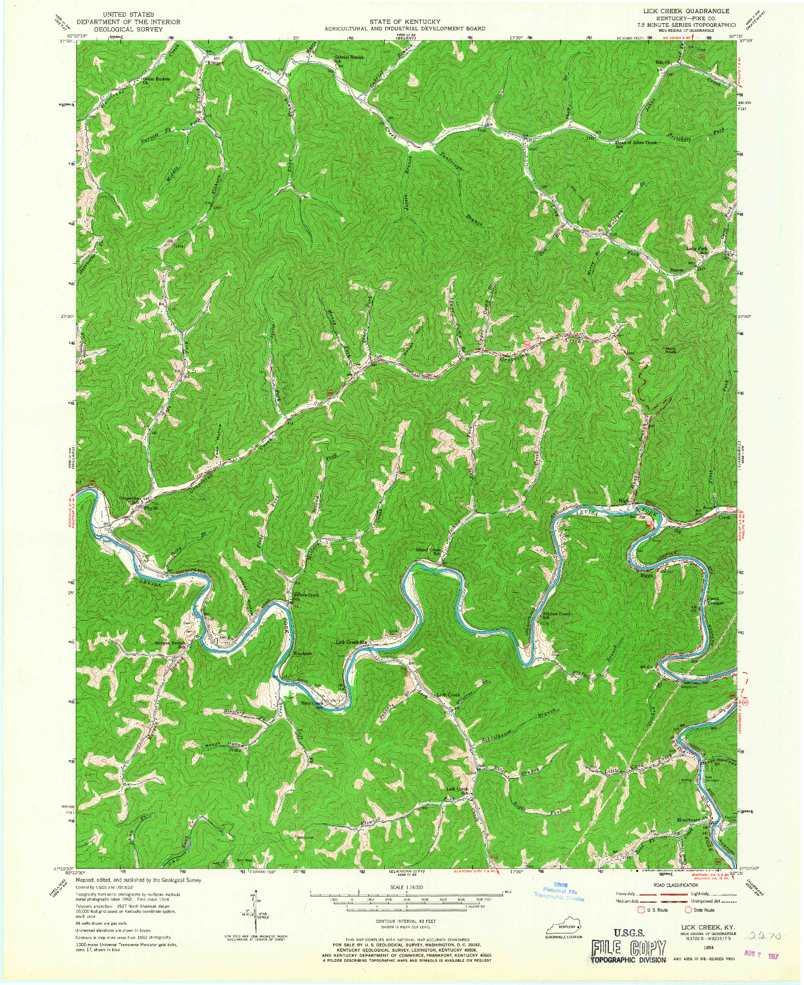 USGS 1:24000-SCALE QUADRANGLE FOR LICK CREEK, KY 1954