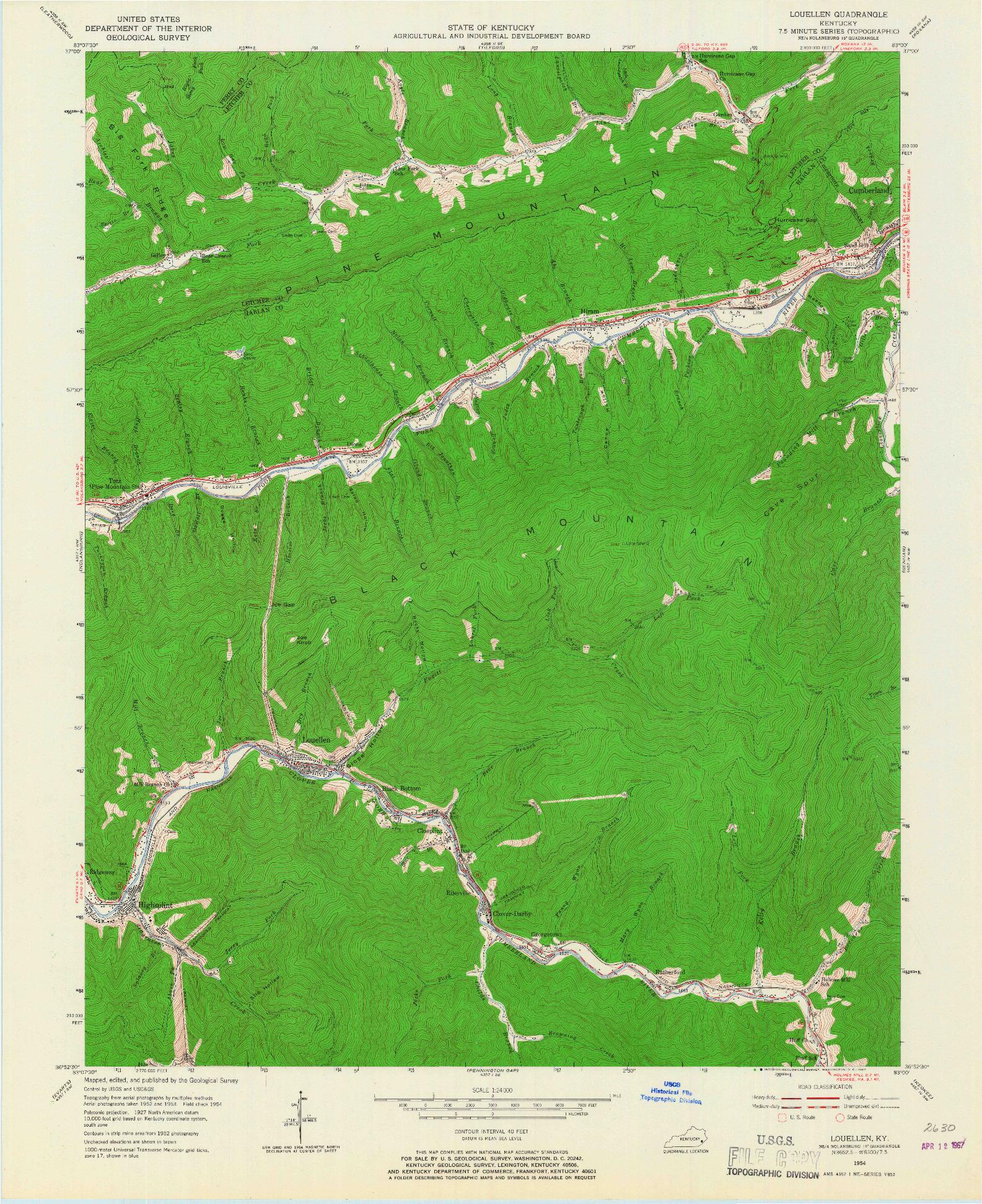 USGS 1:24000-SCALE QUADRANGLE FOR LOUELLEN, KY 1954