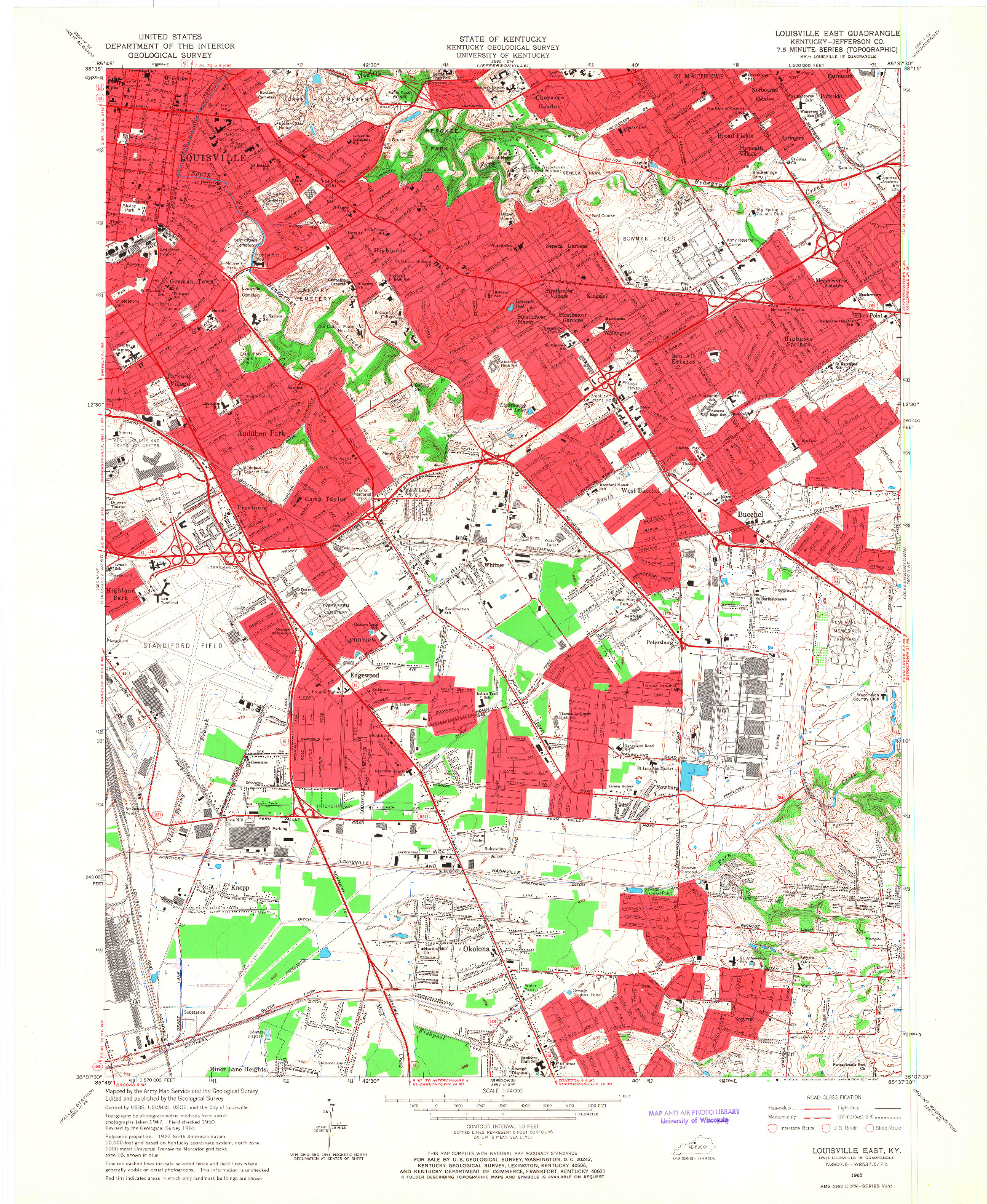 USGS 1:24000-SCALE QUADRANGLE FOR LOUISVILLE EAST, KY 1965