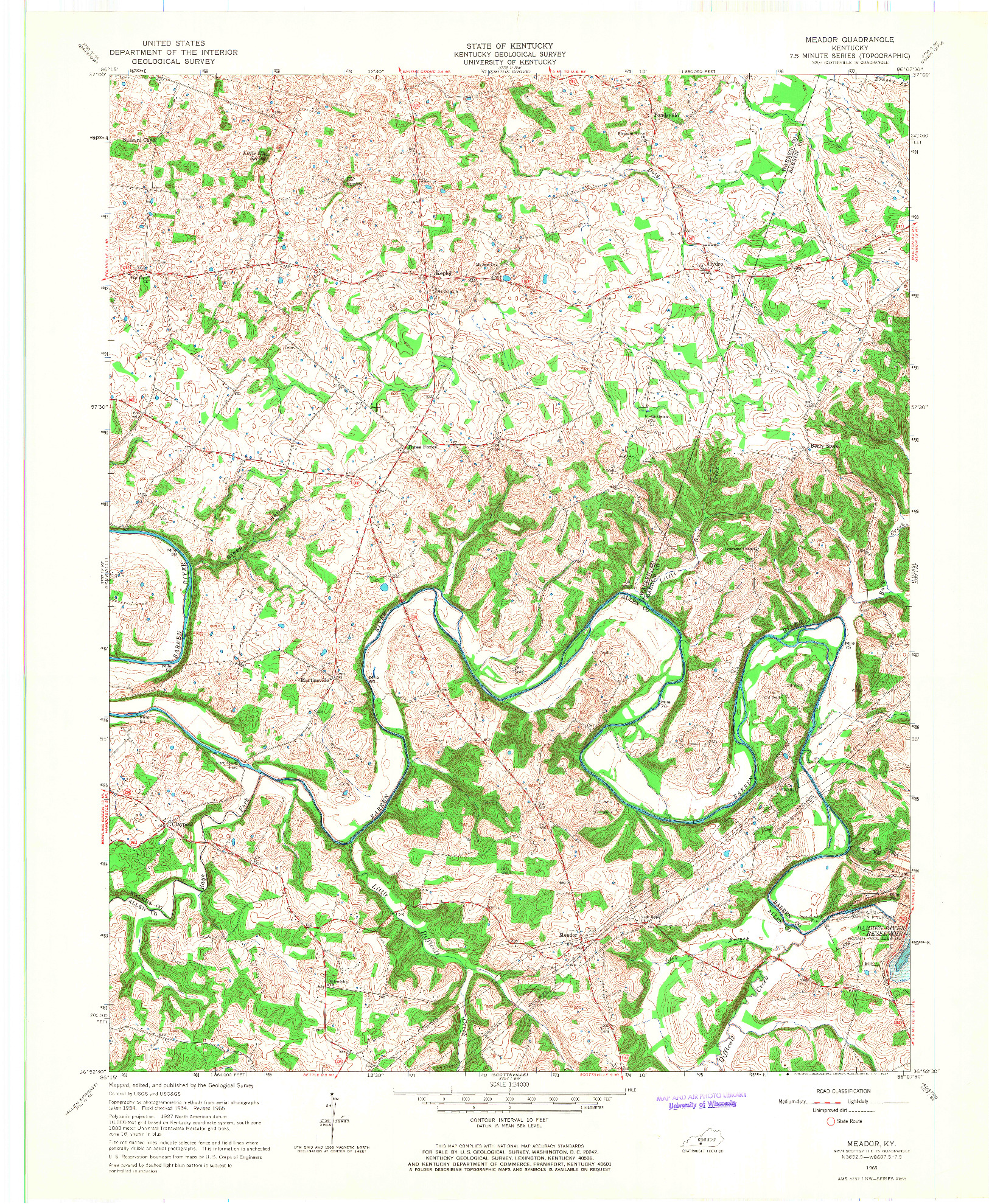 USGS 1:24000-SCALE QUADRANGLE FOR MEADOR, KY 1965