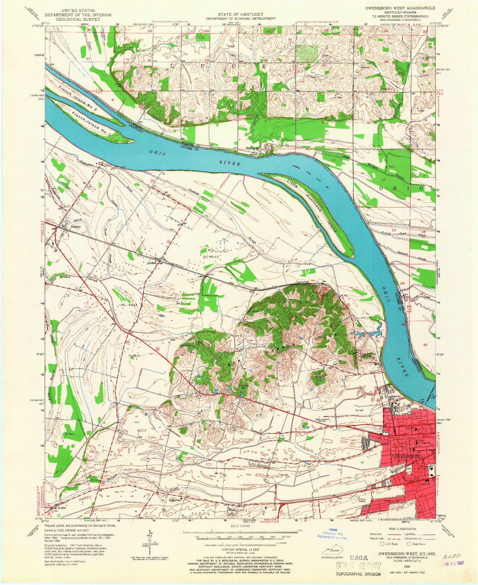 USGS 1:24000-SCALE QUADRANGLE FOR OWENSBORO WEST, KY 1956