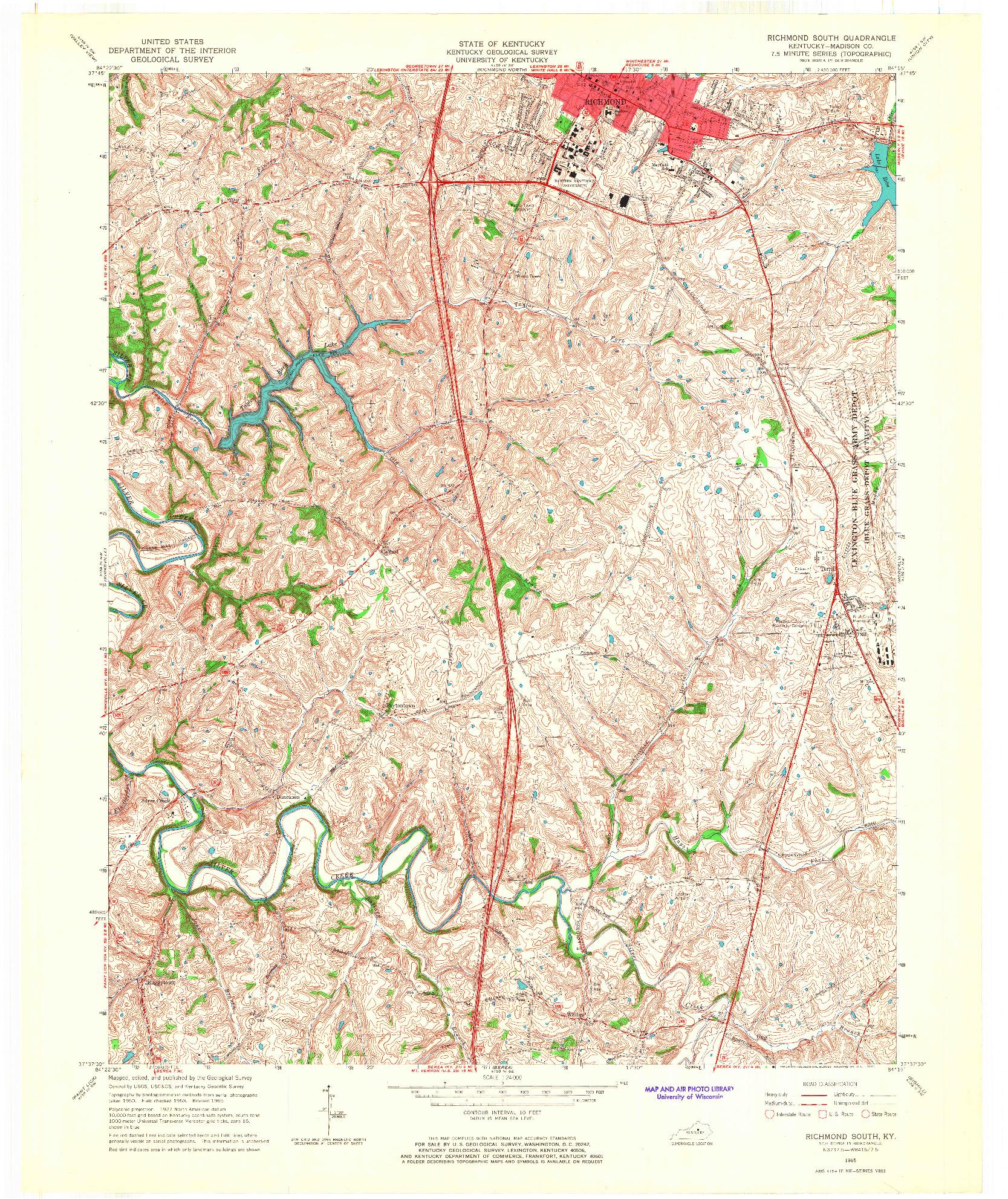USGS 1:24000-SCALE QUADRANGLE FOR RICHMOND SOUTH, KY 1965