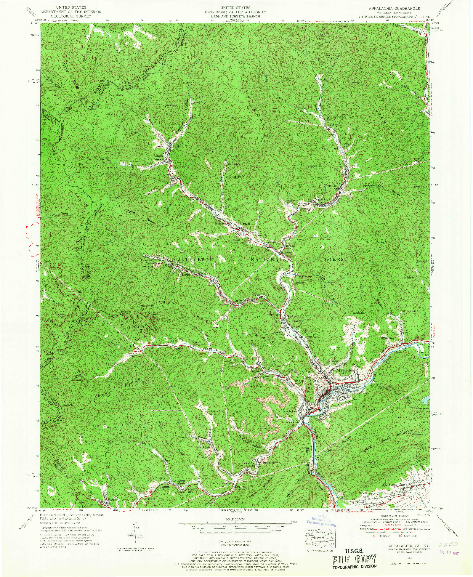 USGS 1:24000-SCALE QUADRANGLE FOR APPALACHIA, VA 1955