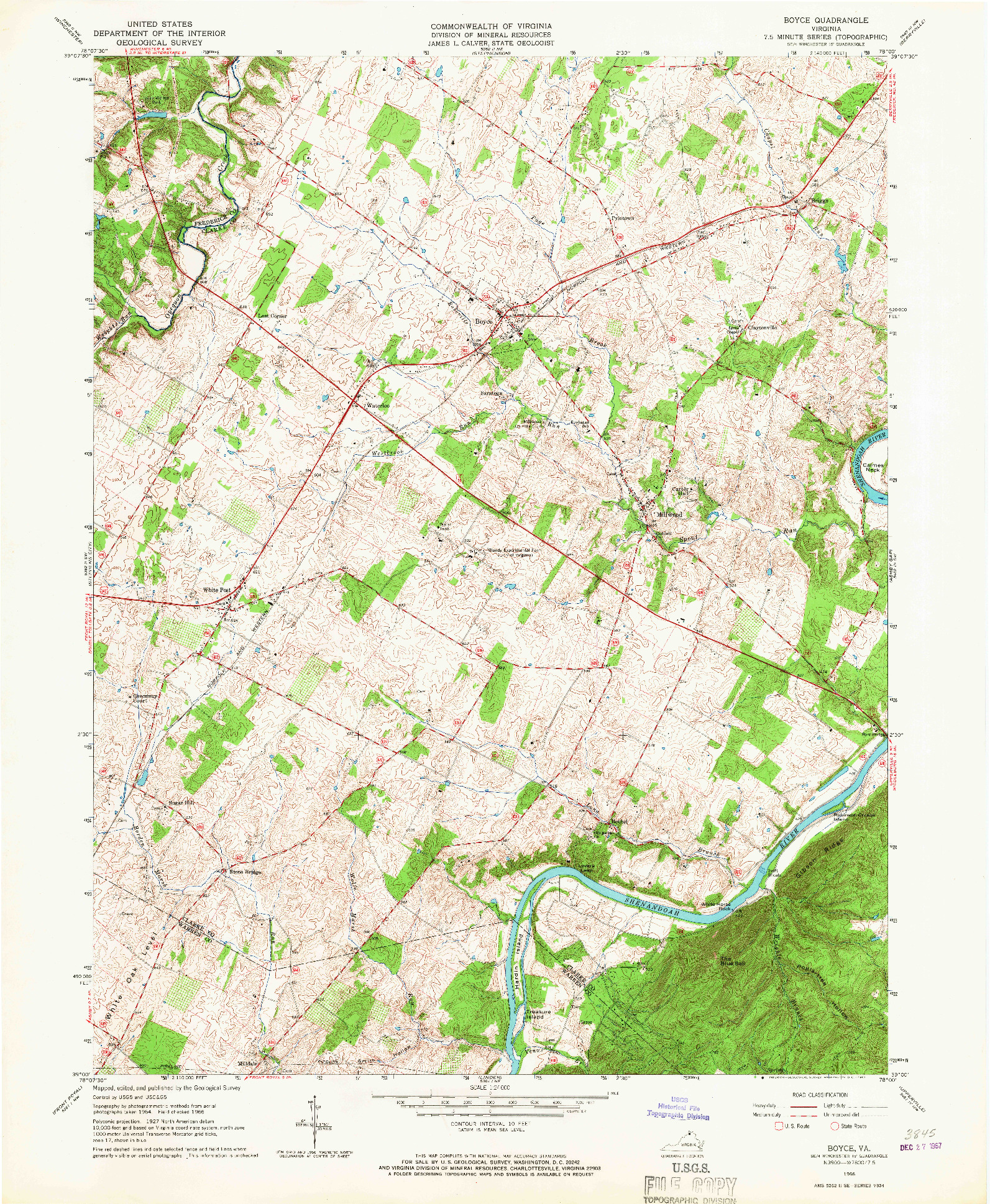 USGS 1:24000-SCALE QUADRANGLE FOR BOYCE, VA 1966