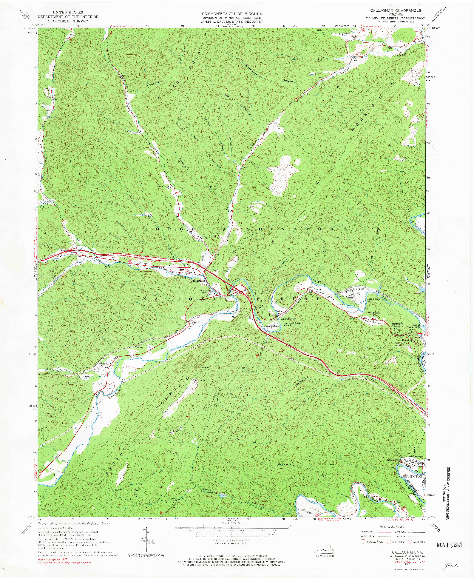 USGS 1:24000-SCALE QUADRANGLE FOR CALLAGHAN, VA 1966