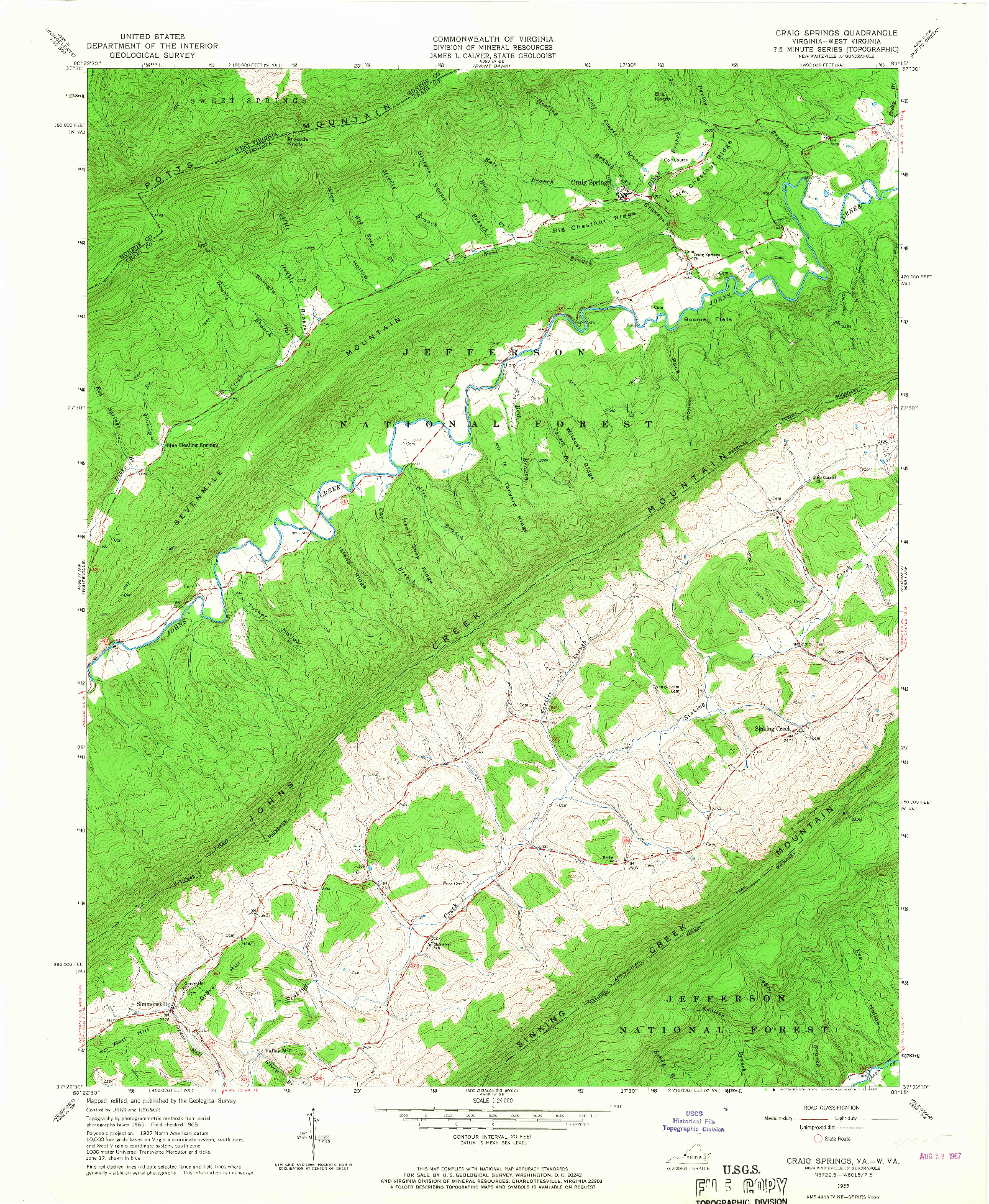 USGS 1:24000-SCALE QUADRANGLE FOR CRAIG SPRINGS, VA 1965