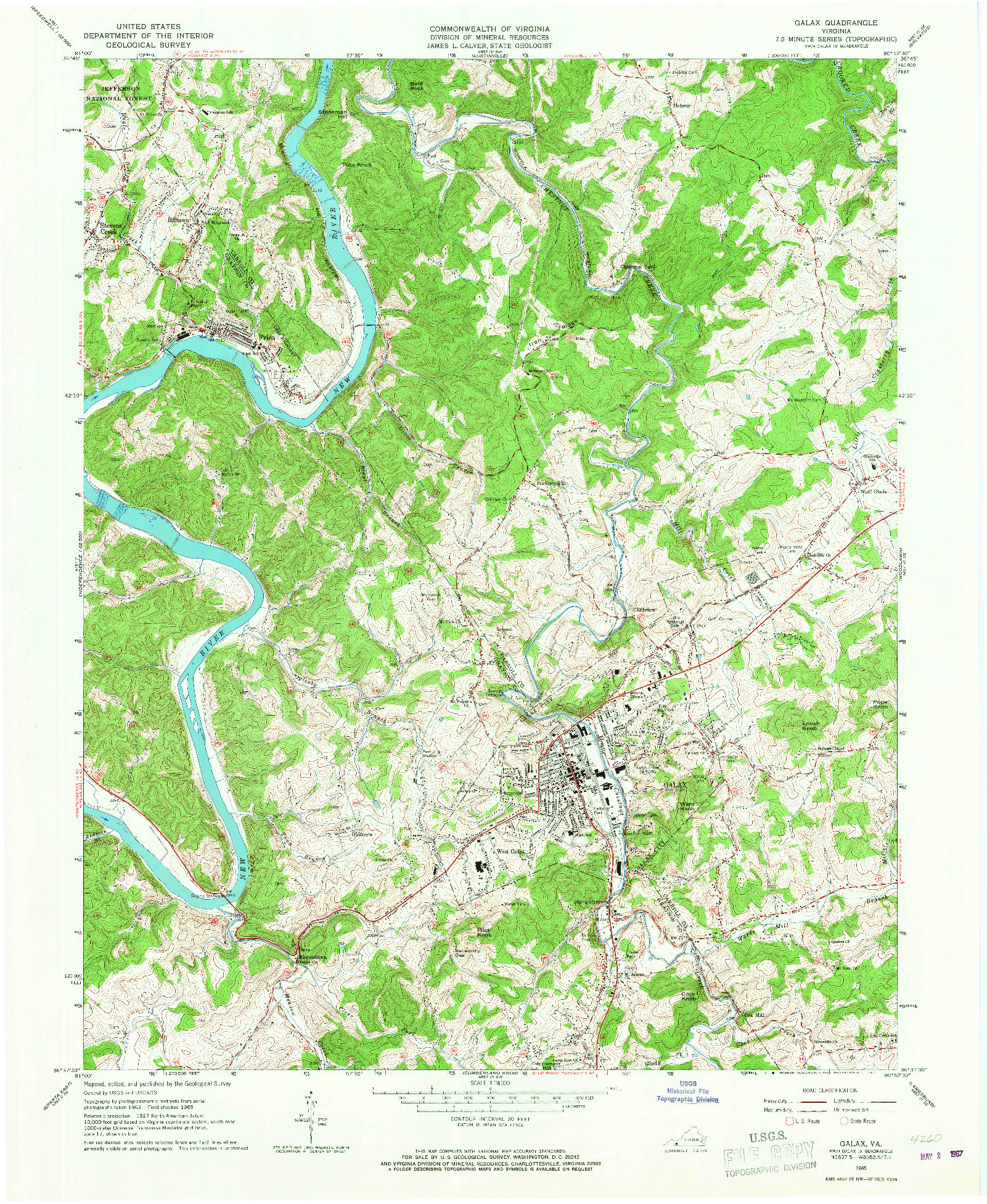 USGS 1:24000-SCALE QUADRANGLE FOR GALAX, VA 1965