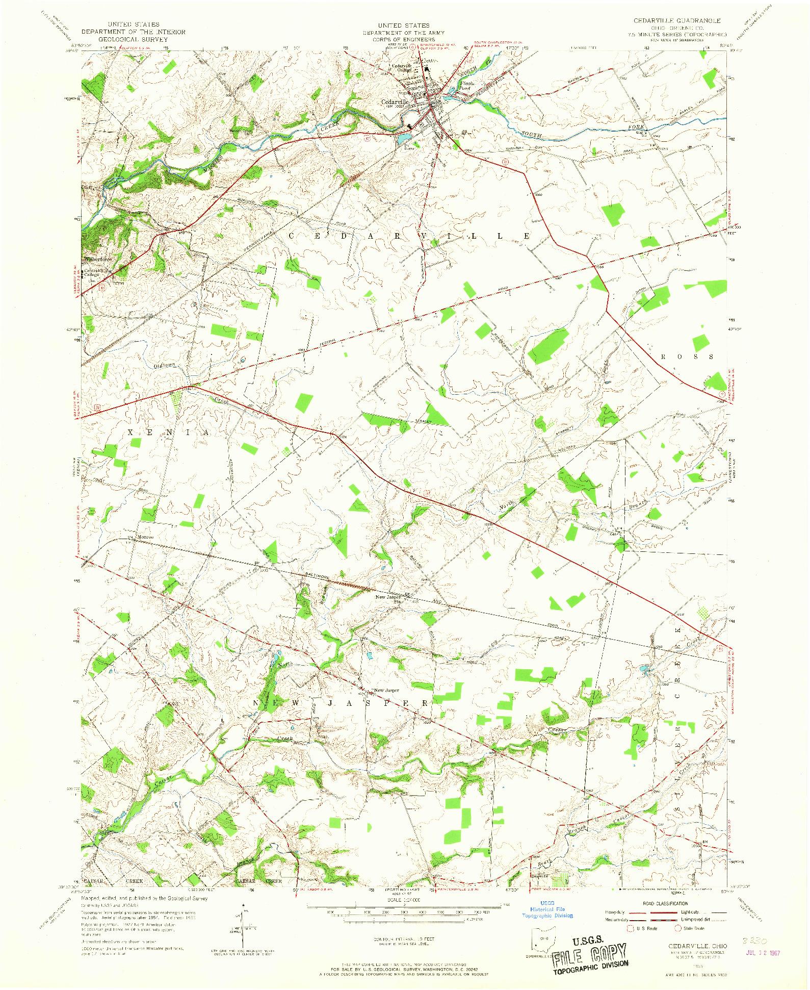 USGS 1:24000-SCALE QUADRANGLE FOR CEDARVILLE, OH 1955